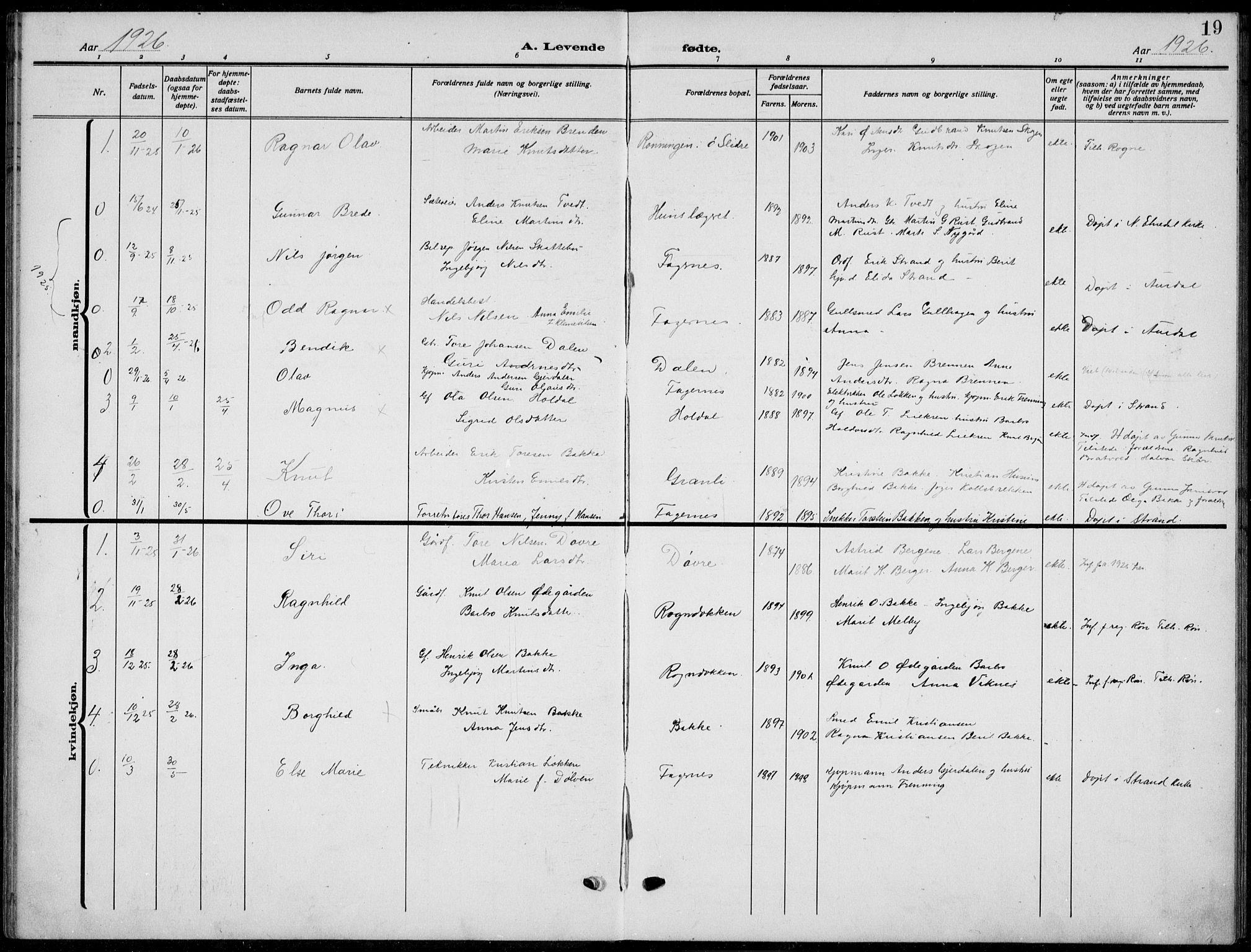 SAH, Nord-Aurdal prestekontor, Klokkerbok nr. 15, 1918-1935, s. 19