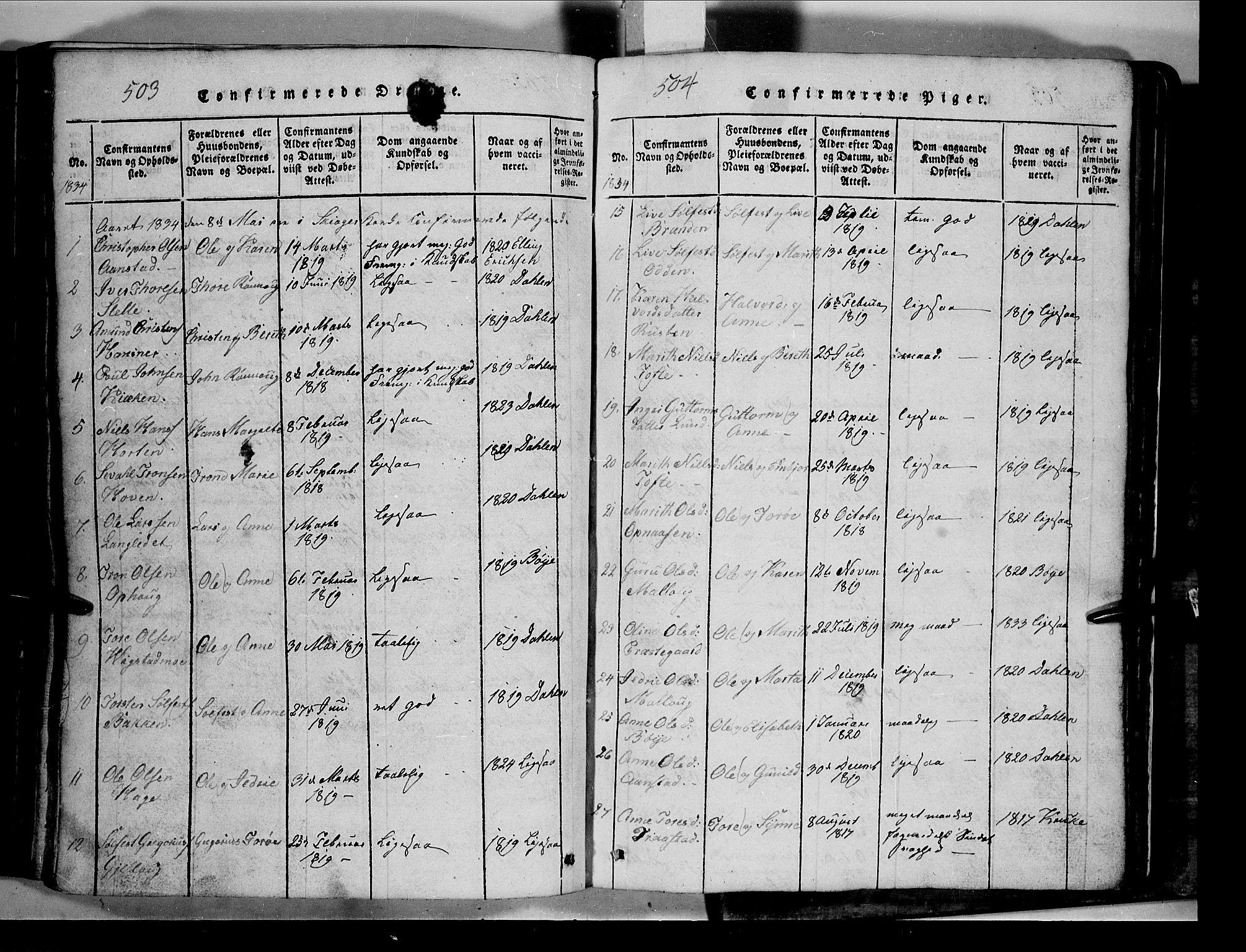 SAH, Lom prestekontor, L/L0003: Klokkerbok nr. 3, 1815-1844, s. 503-504