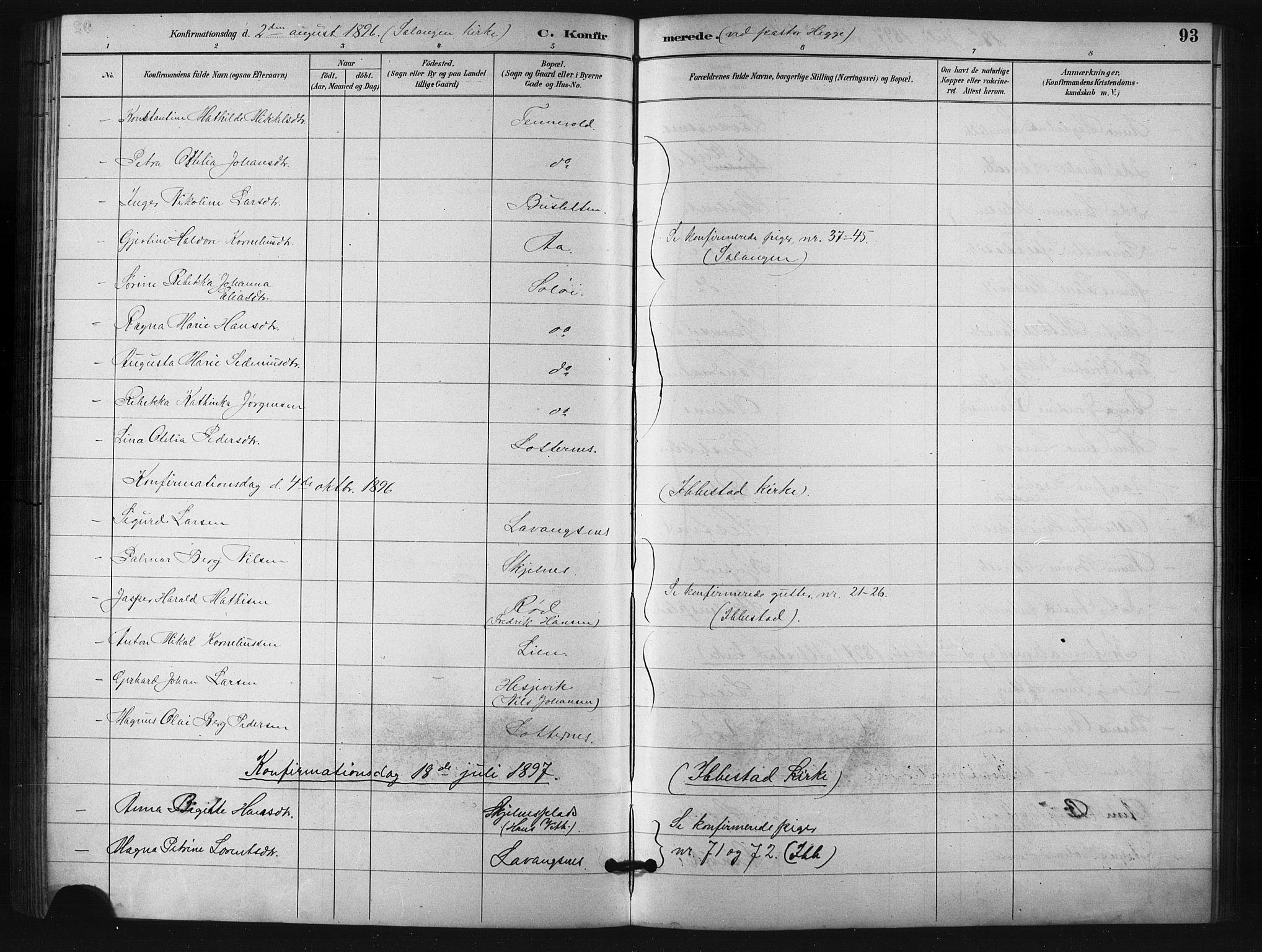 SATØ, Salangen sokneprestembete, H/Ha/L0001klokker: Klokkerbok nr. 1, 1893-1910, s. 93