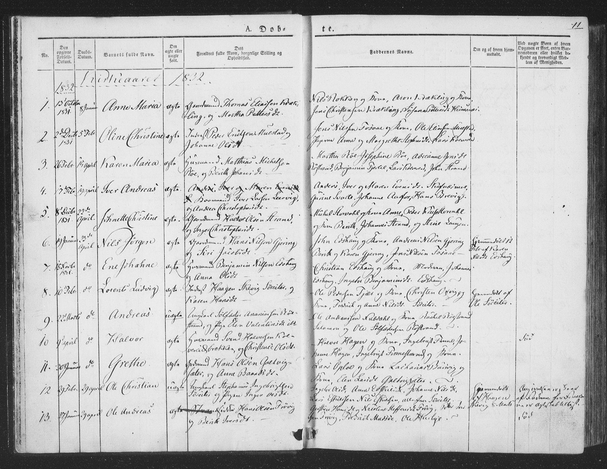SAT, Ministerialprotokoller, klokkerbøker og fødselsregistre - Nord-Trøndelag, 780/L0639: Ministerialbok nr. 780A04, 1830-1844, s. 11