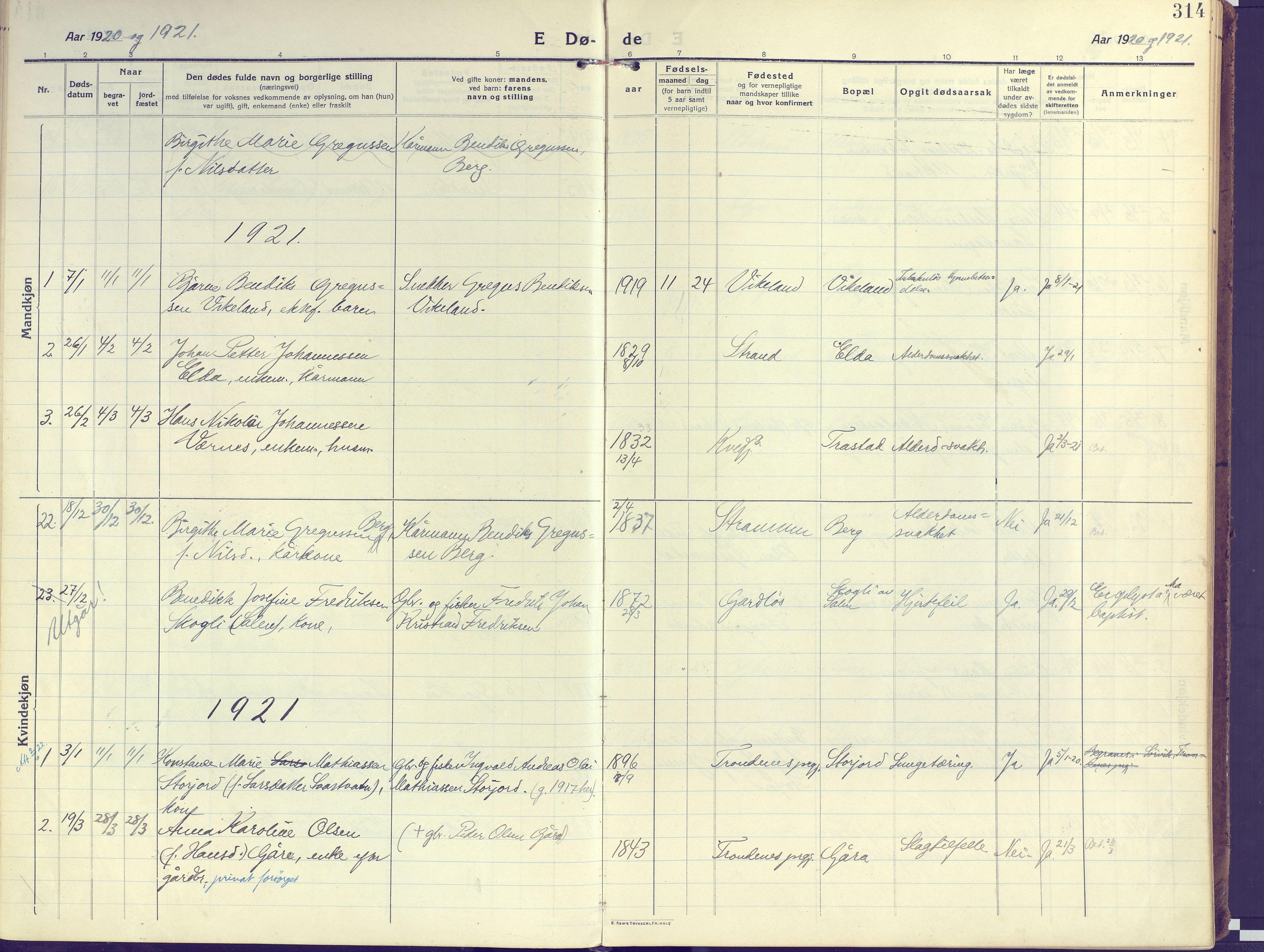 SATØ, Kvæfjord sokneprestkontor, G/Ga/Gaa/L0007kirke: Ministerialbok nr. 7, 1915-1931, s. 314