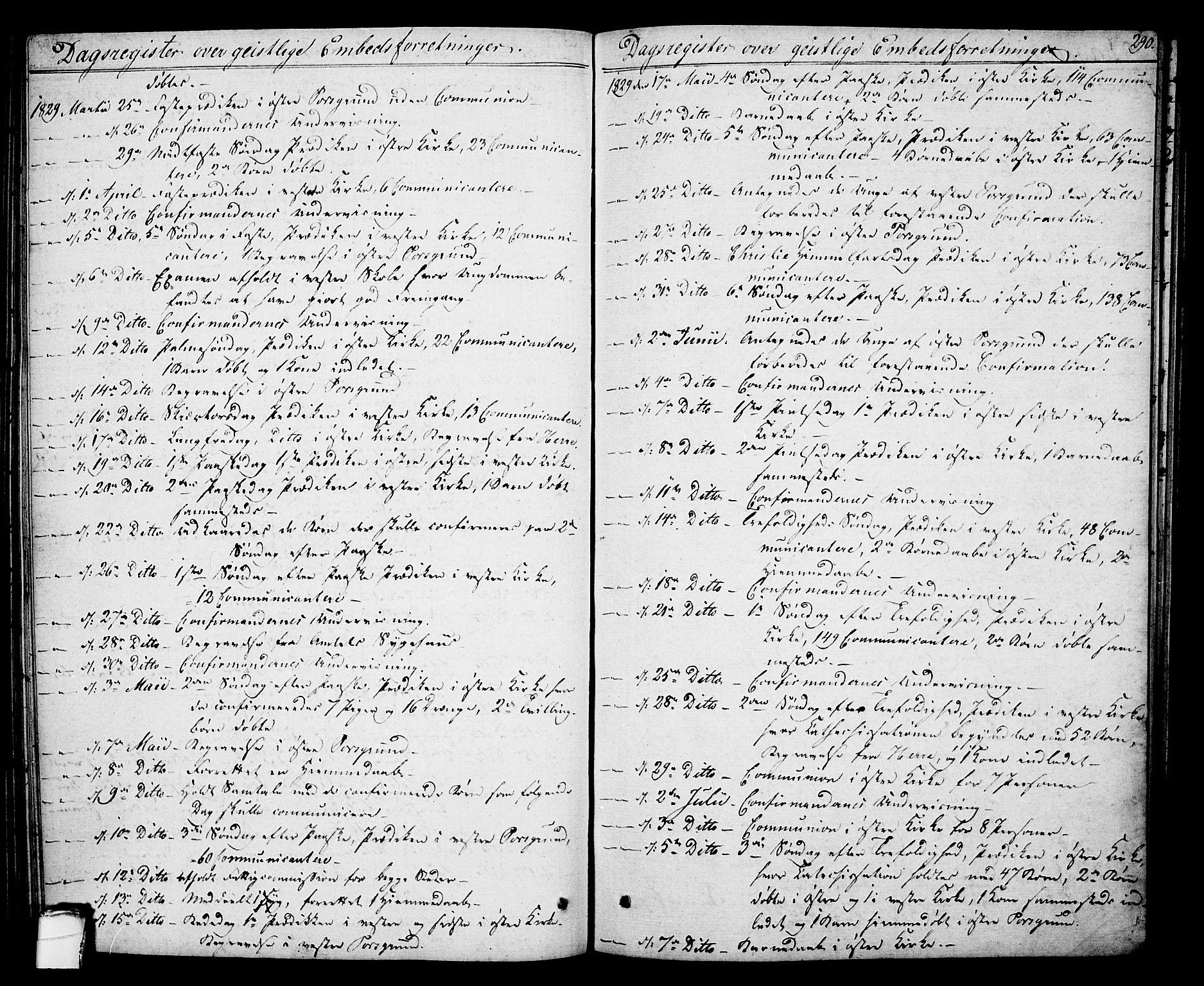 SAKO, Porsgrunn kirkebøker , F/Fa/L0005: Ministerialbok nr. 5, 1828-1840, s. 290