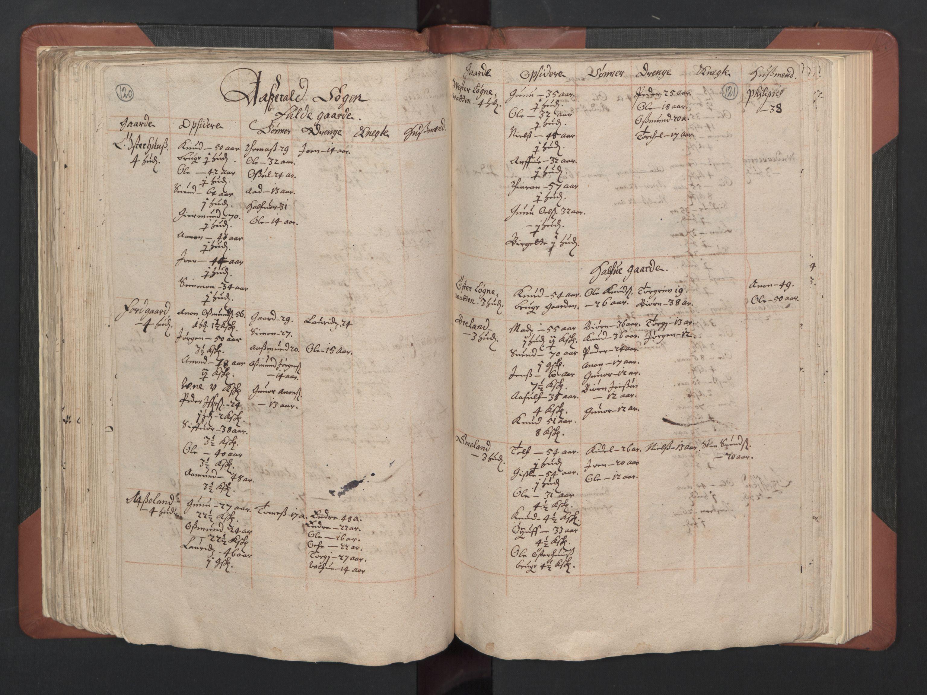 RA, Fogdenes og sorenskrivernes manntall 1664-1666, nr. 8: Råbyggelaget fogderi, 1664-1665, s. 120-121
