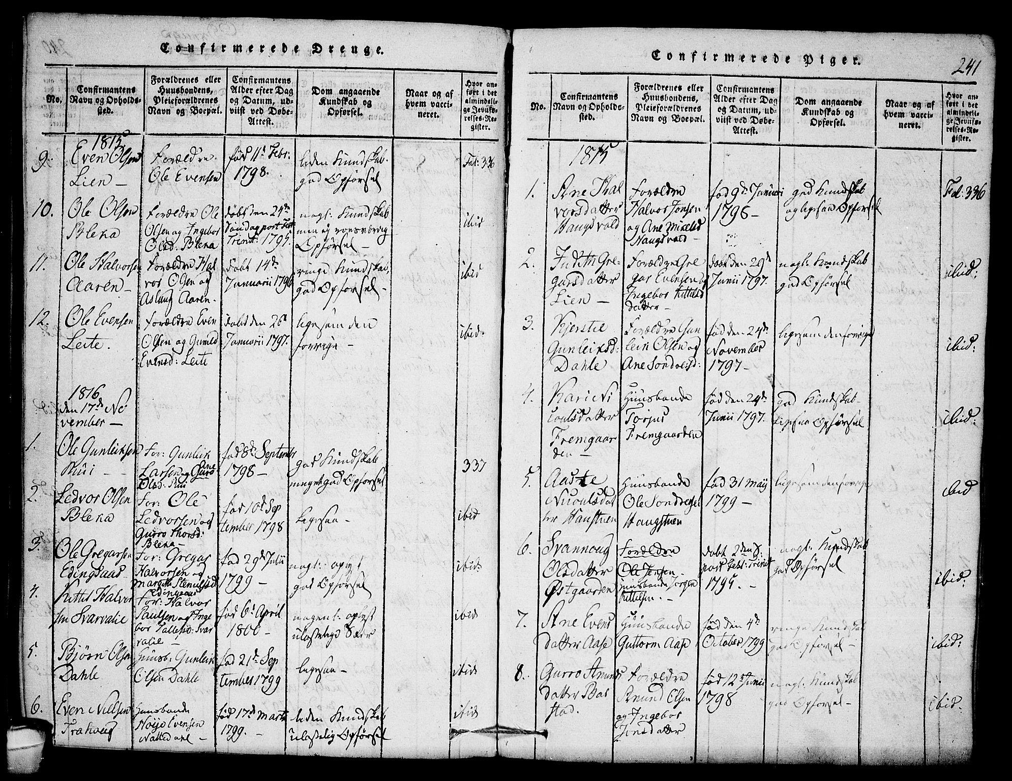 SAKO, Seljord kirkebøker, F/Fb/L0001: Ministerialbok nr. II 1, 1815-1831, s. 241