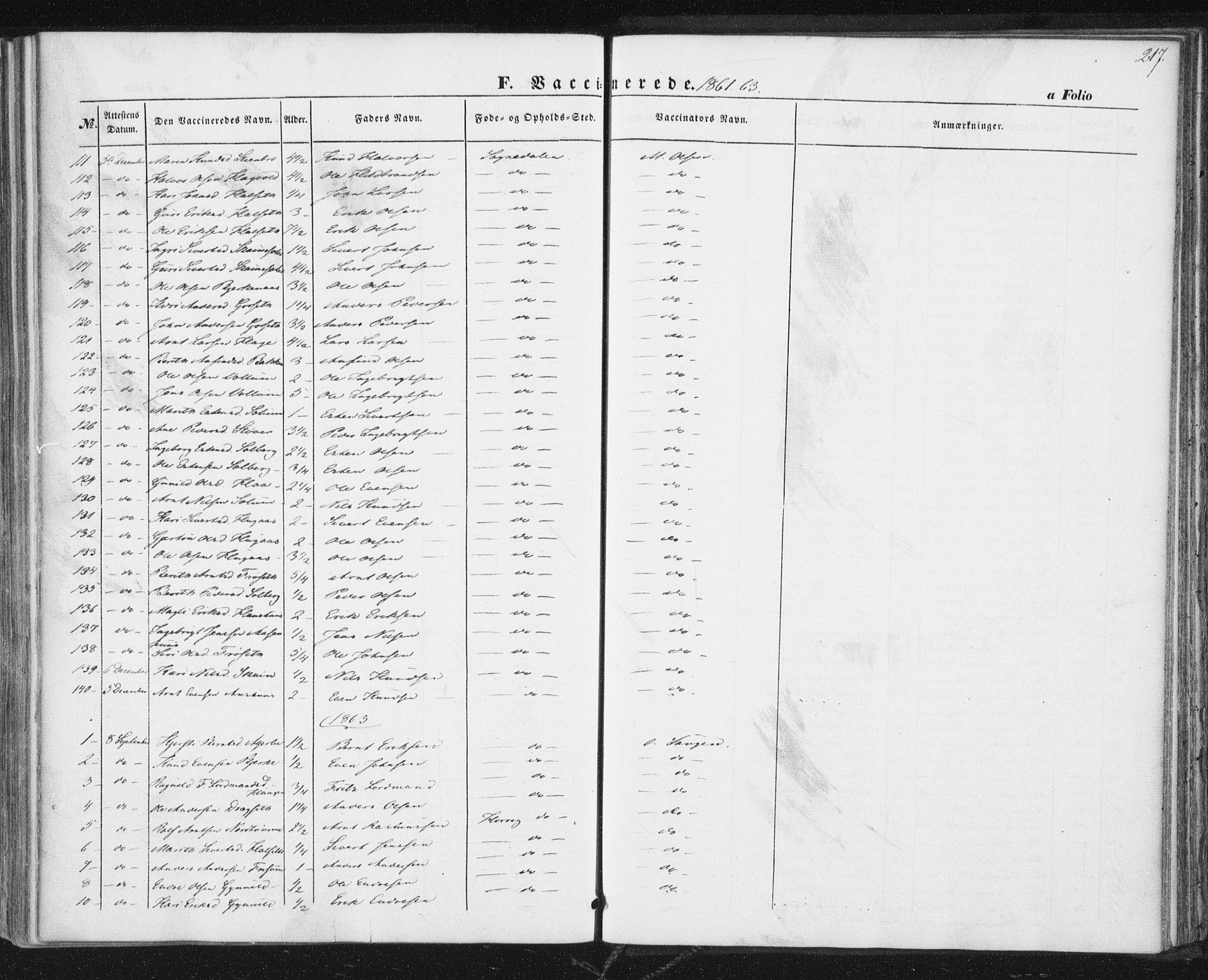 SAT, Ministerialprotokoller, klokkerbøker og fødselsregistre - Sør-Trøndelag, 689/L1038: Ministerialbok nr. 689A03, 1848-1872, s. 217