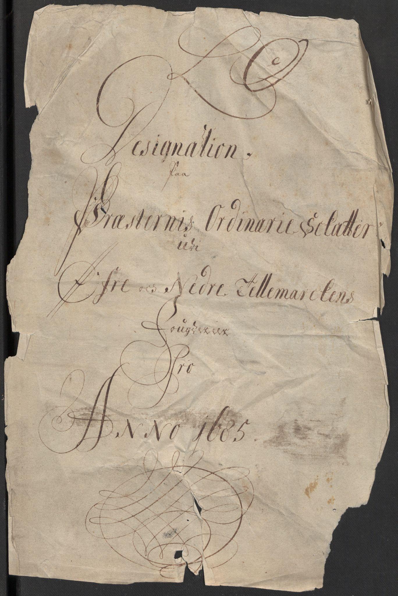 RA, Rentekammeret inntil 1814, Reviderte regnskaper, Fogderegnskap, R35/L2082: Fogderegnskap Øvre og Nedre Telemark, 1685, s. 385