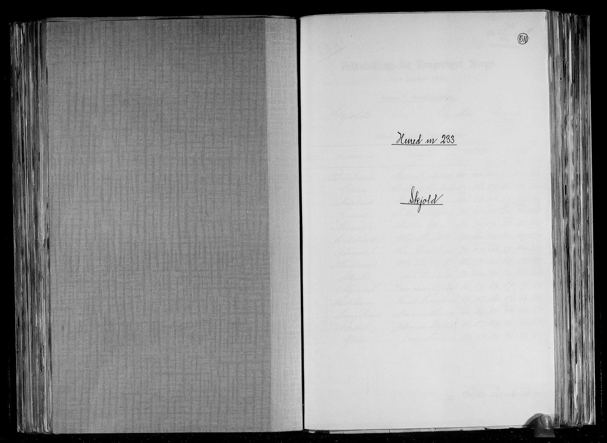 RA, Folketelling 1891 for 1154 Skjold herred, 1891, s. 1