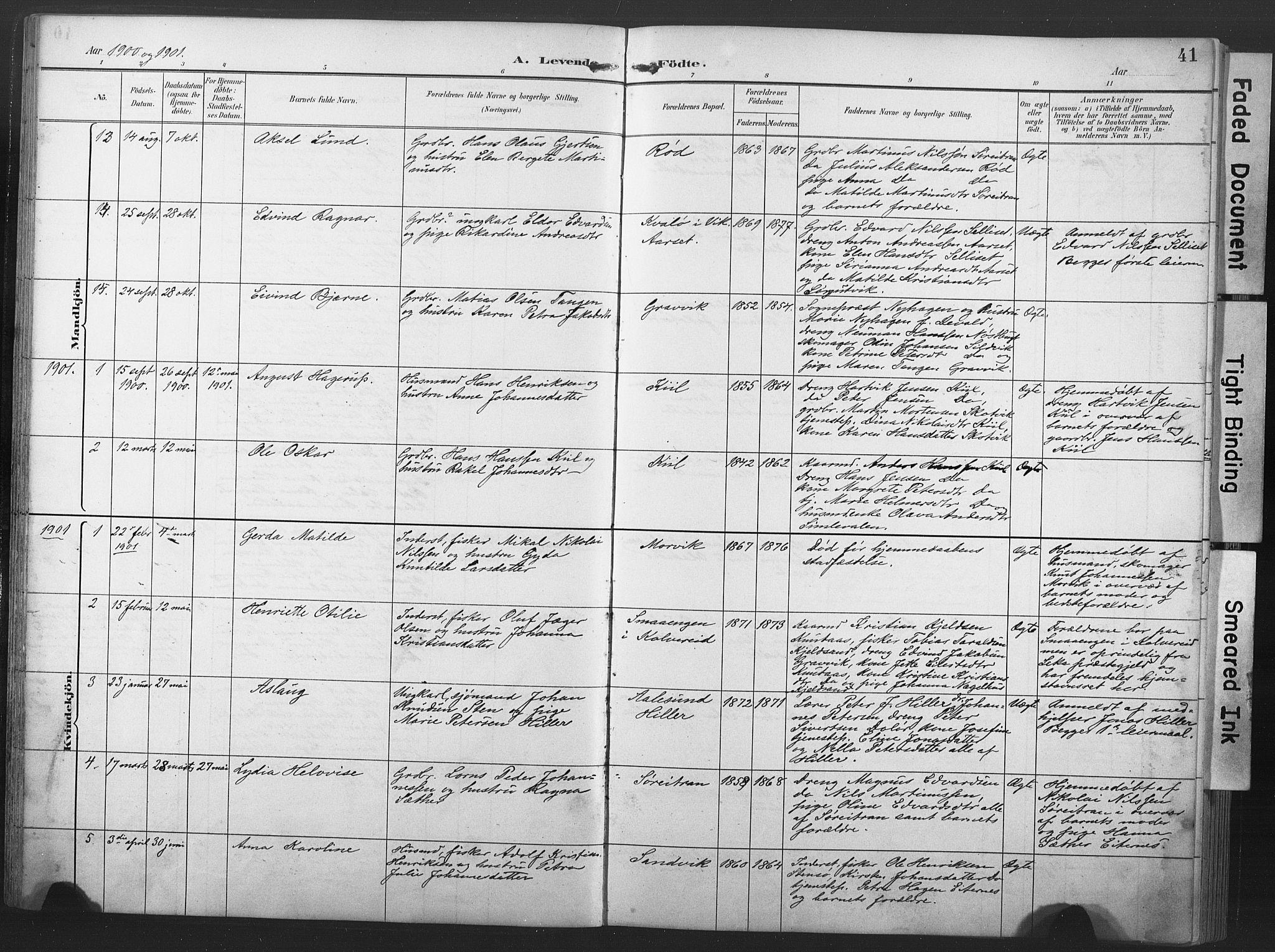 SAT, Ministerialprotokoller, klokkerbøker og fødselsregistre - Nord-Trøndelag, 789/L0706: Klokkerbok nr. 789C01, 1888-1931, s. 41