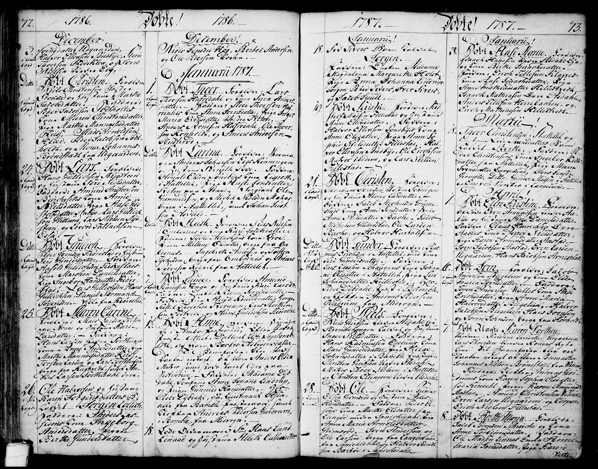 SAKO, Bamble kirkebøker, F/Fa/L0002: Ministerialbok nr. I 2, 1775-1814, s. 72-73