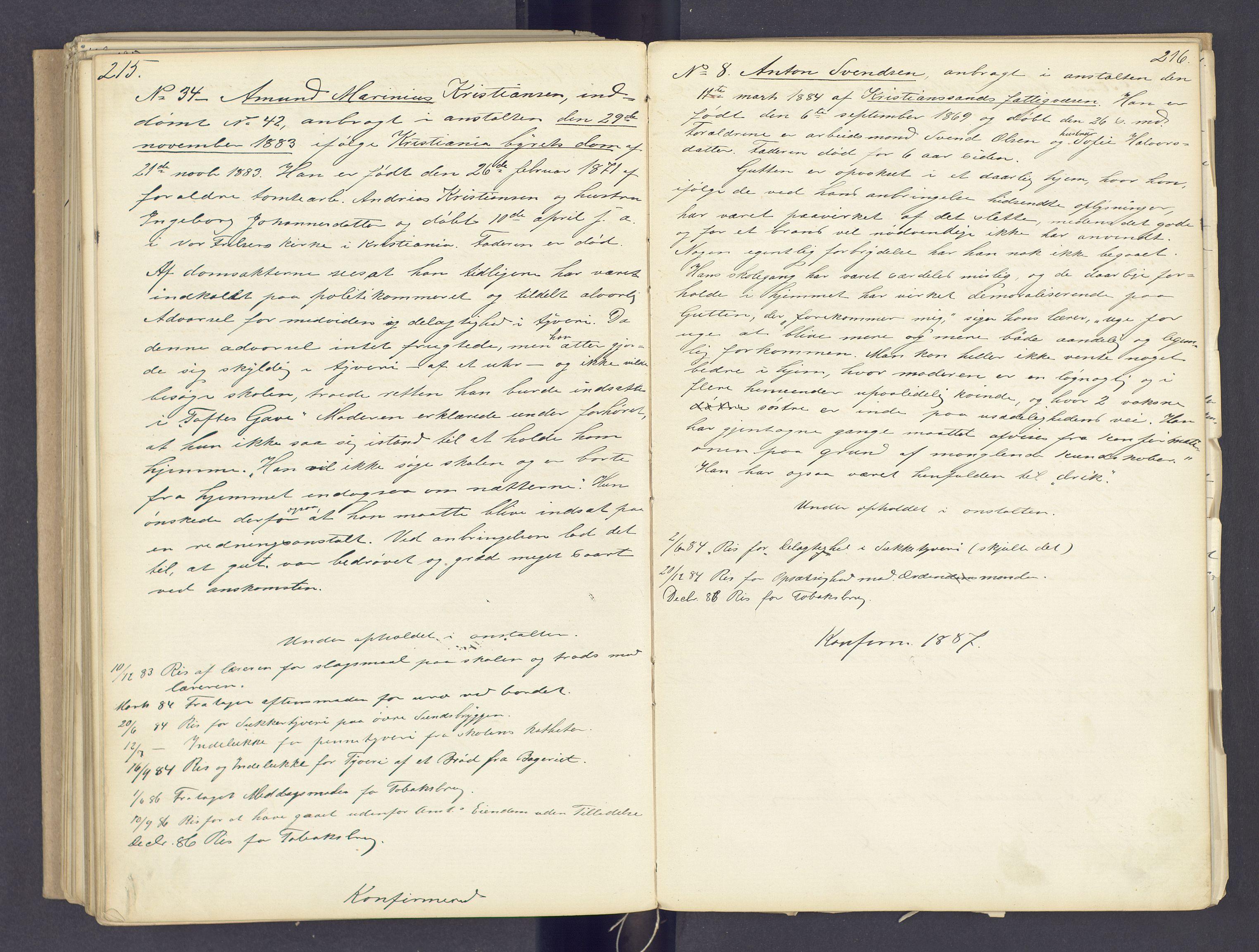 SAH, Toftes Gave, F/Fc/L0002: Elevprotokoll, 1870-1885, s. 215-216