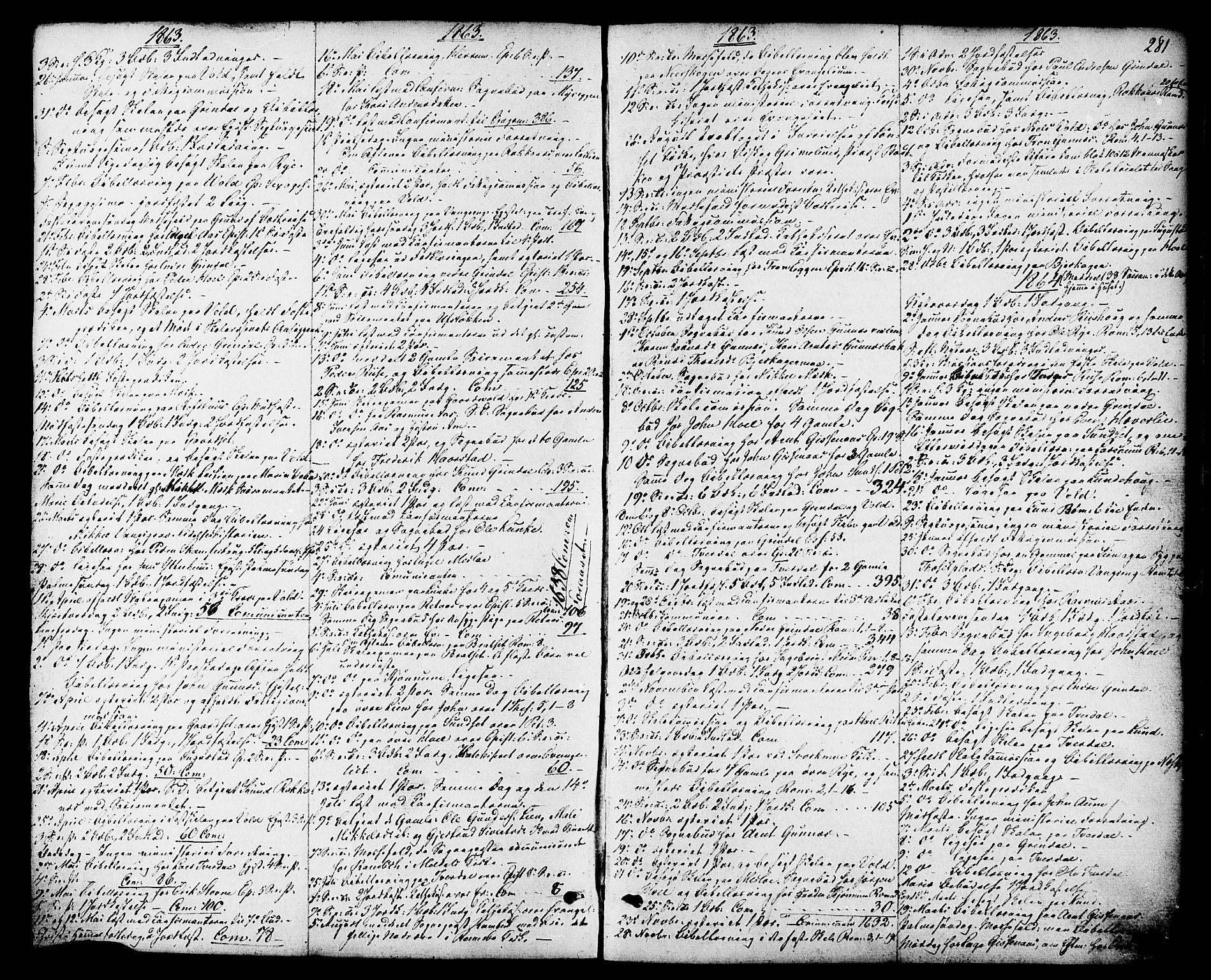SAT, Ministerialprotokoller, klokkerbøker og fødselsregistre - Sør-Trøndelag, 674/L0870: Ministerialbok nr. 674A02, 1861-1879, s. 281