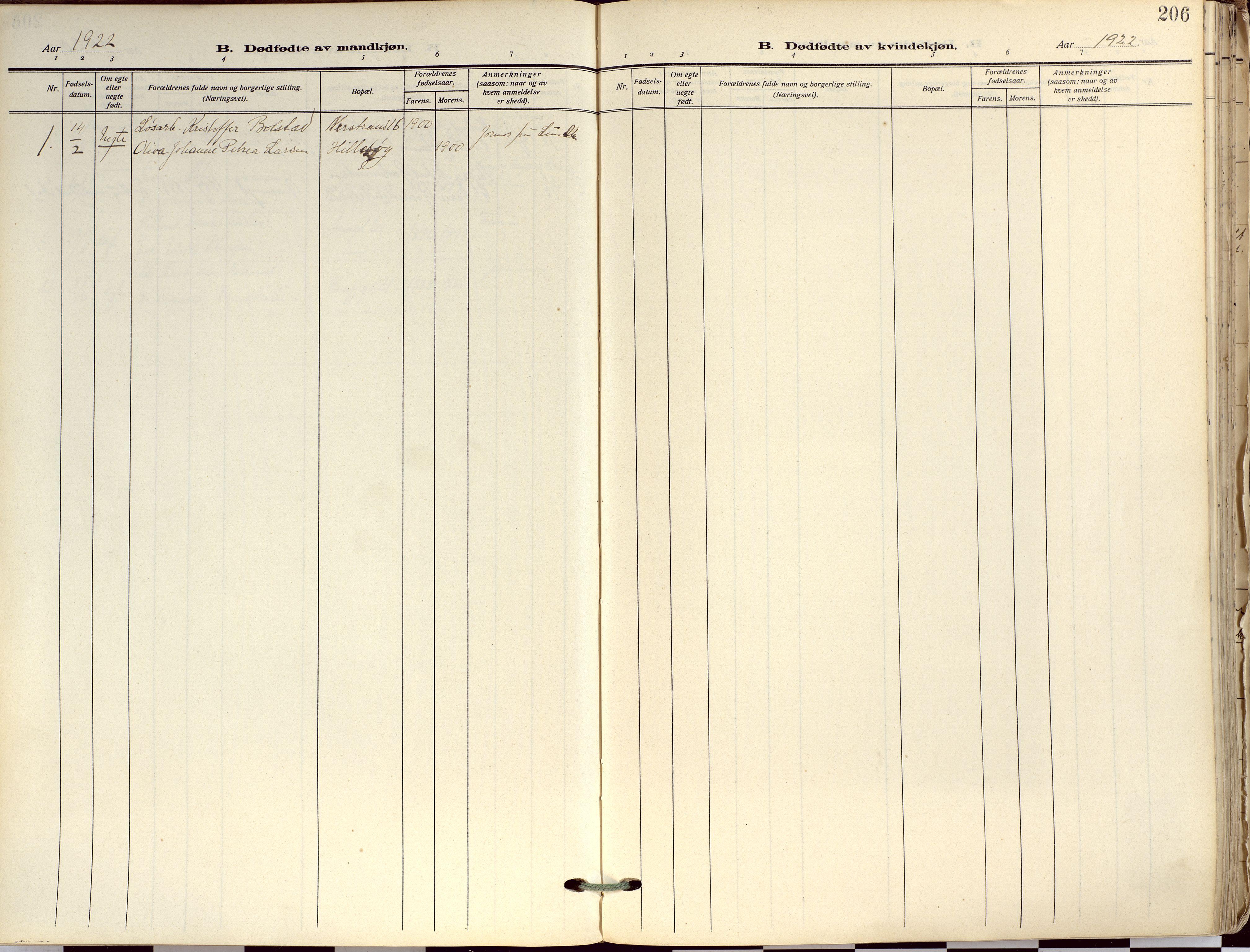 SATØ, Tromsø sokneprestkontor/stiftsprosti/domprosti, G/Ga/L0019kirke: Ministerialbok nr. 19, 1917-1927, s. 206