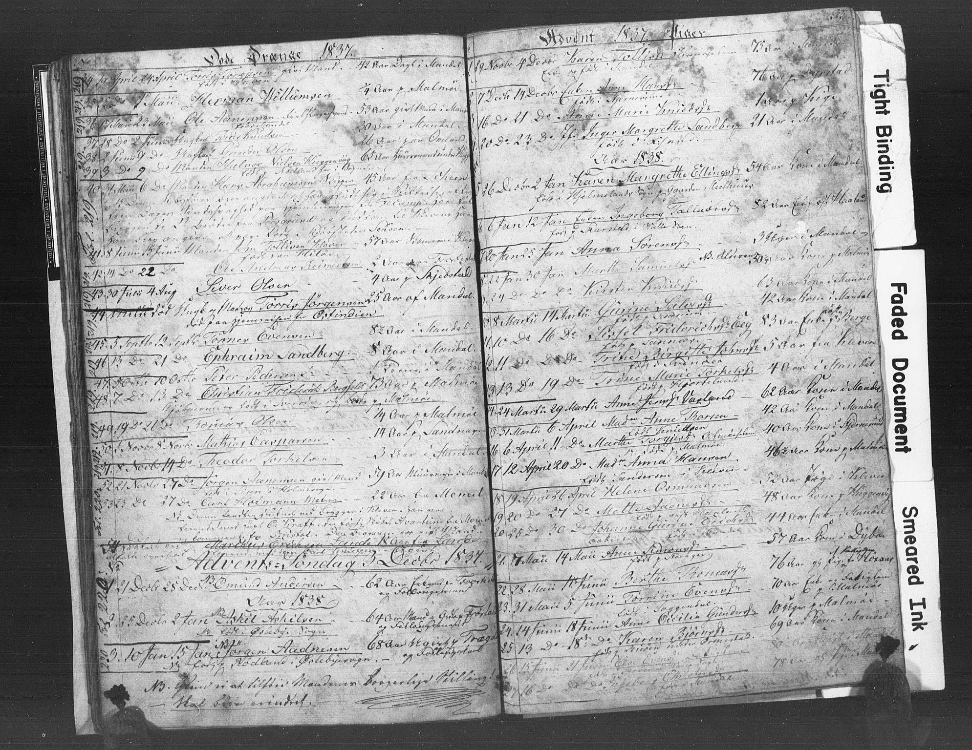 SAK, Mandal sokneprestkontor, F/Fb/Fba/L0003: Klokkerbok nr. B 1C, 1834-1838, s. 35