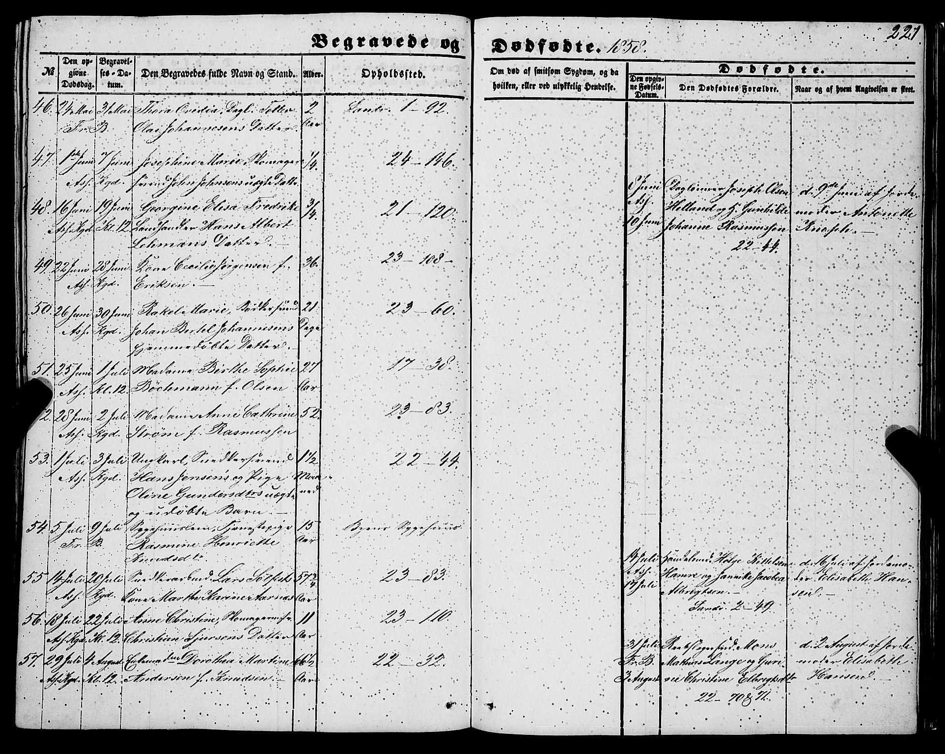 SAB, Korskirken Sokneprestembete, H/Haa: Ministerialbok nr. E 2, 1848-1862, s. 221