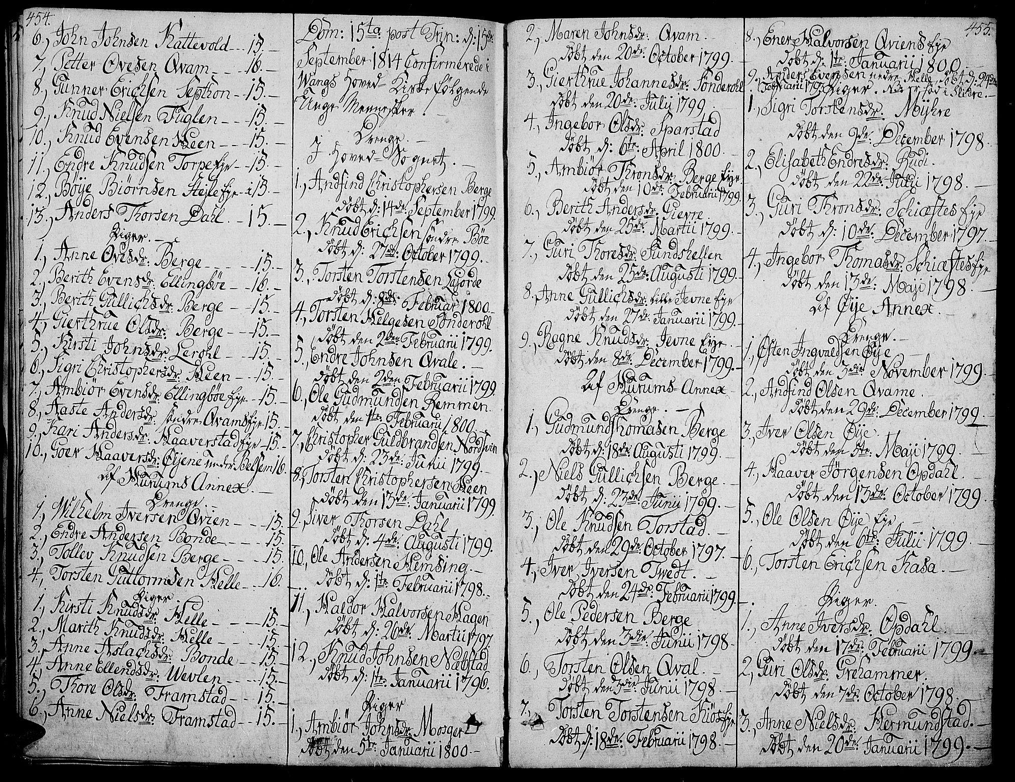 SAH, Vang prestekontor, Valdres, Ministerialbok nr. 3, 1809-1831, s. 454-455