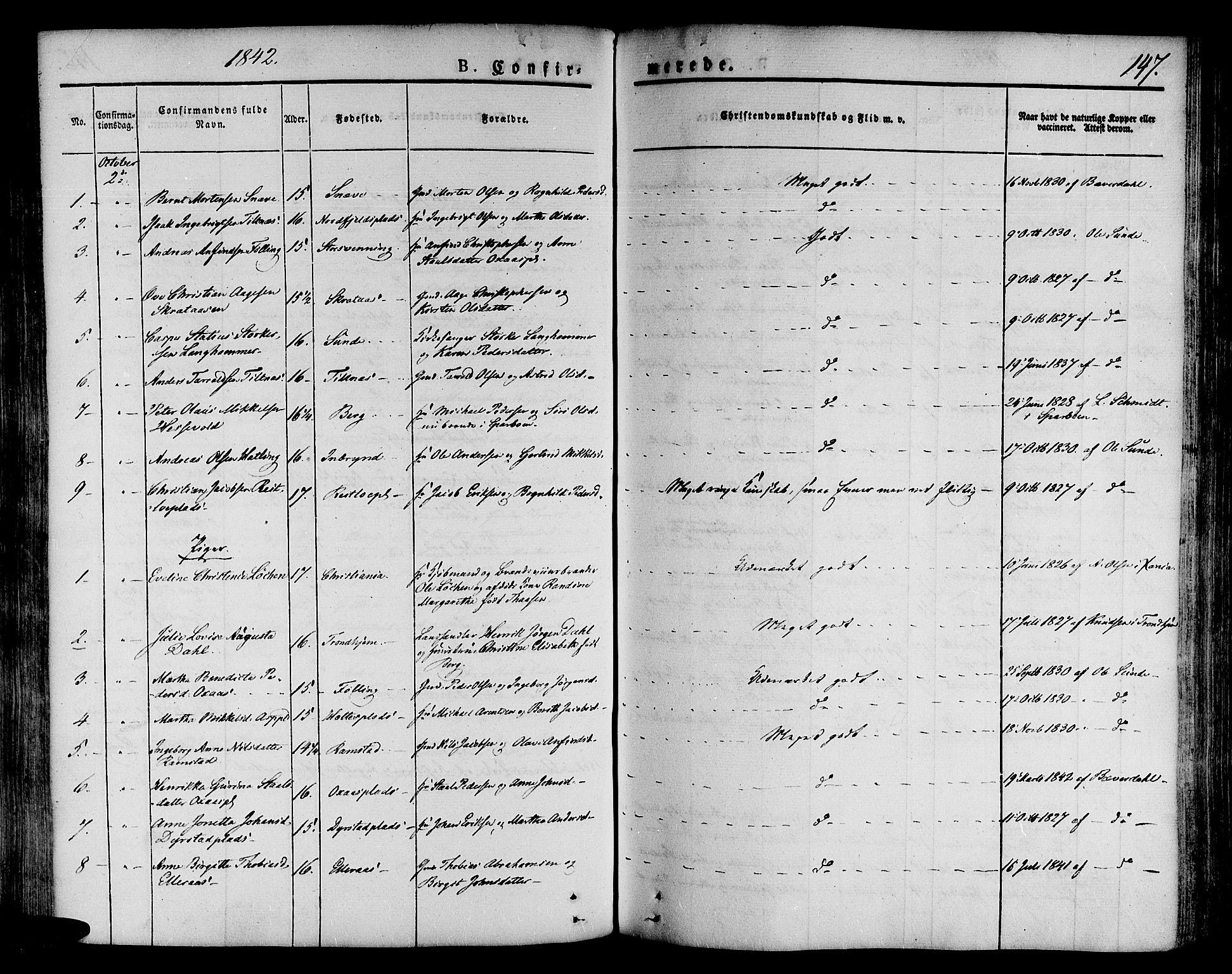 SAT, Ministerialprotokoller, klokkerbøker og fødselsregistre - Nord-Trøndelag, 746/L0445: Ministerialbok nr. 746A04, 1826-1846, s. 147