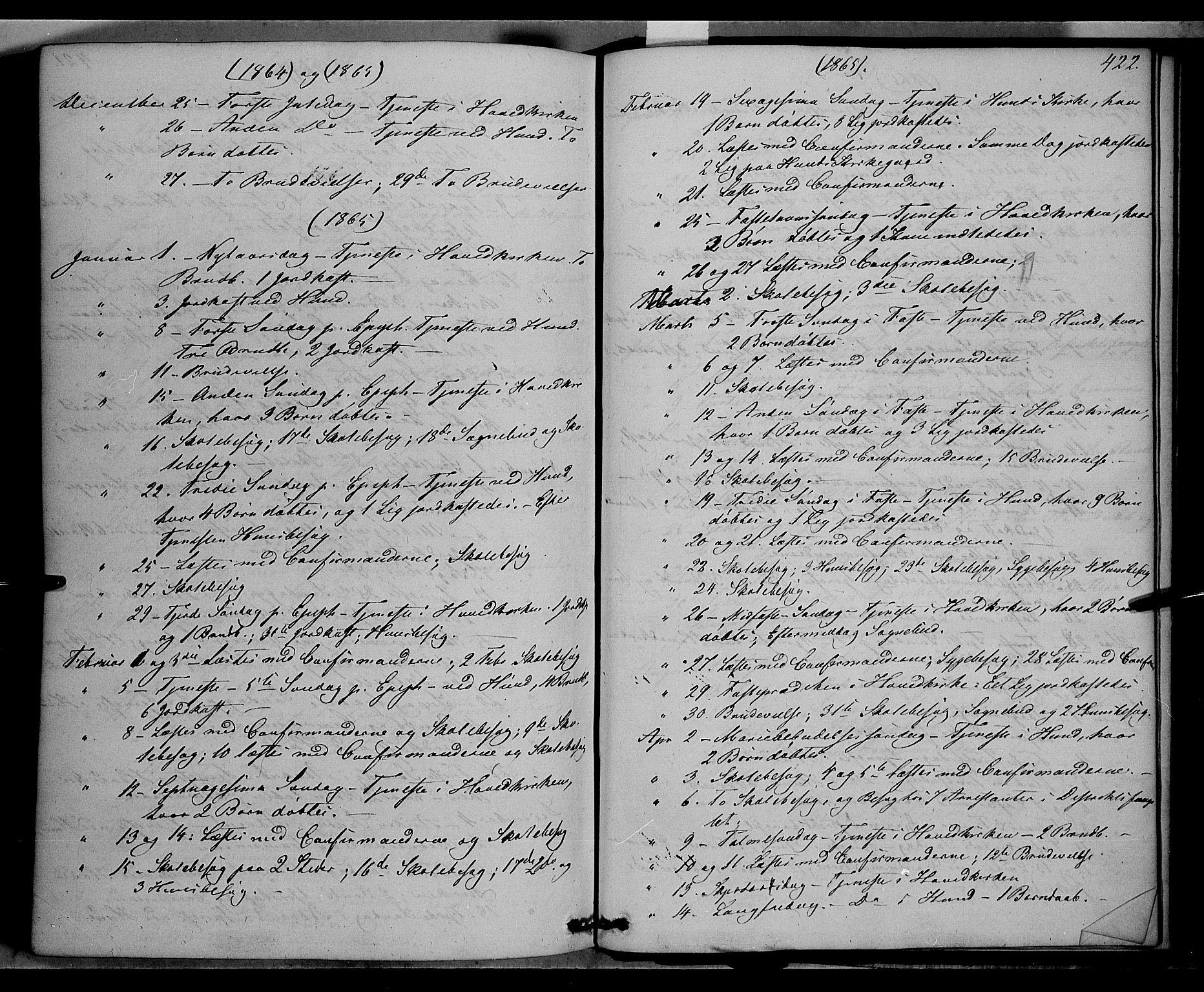 SAH, Vardal prestekontor, H/Ha/Haa/L0006: Ministerialbok nr. 6, 1854-1866, s. 422