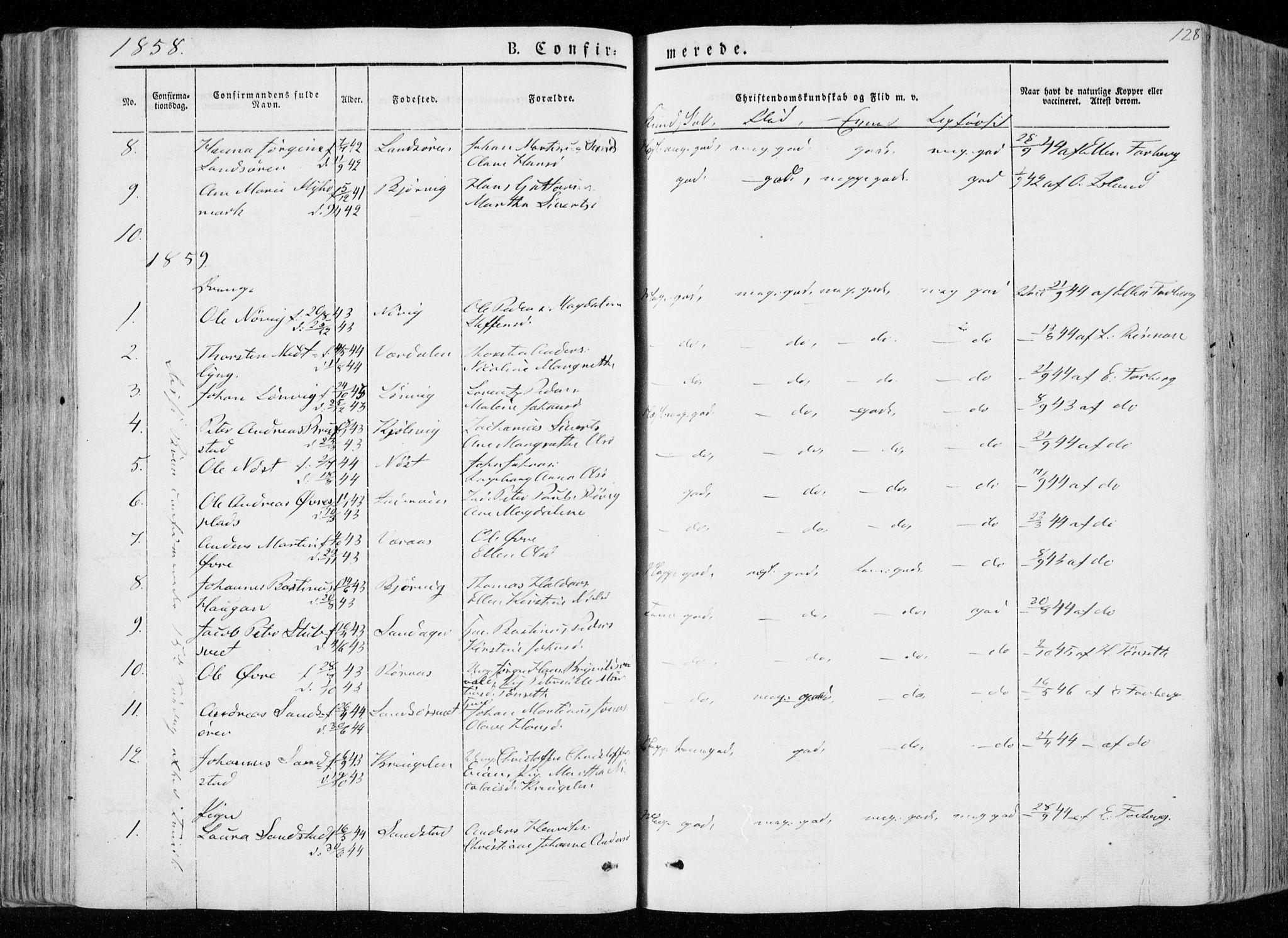 SAT, Ministerialprotokoller, klokkerbøker og fødselsregistre - Nord-Trøndelag, 722/L0218: Ministerialbok nr. 722A05, 1843-1868, s. 128
