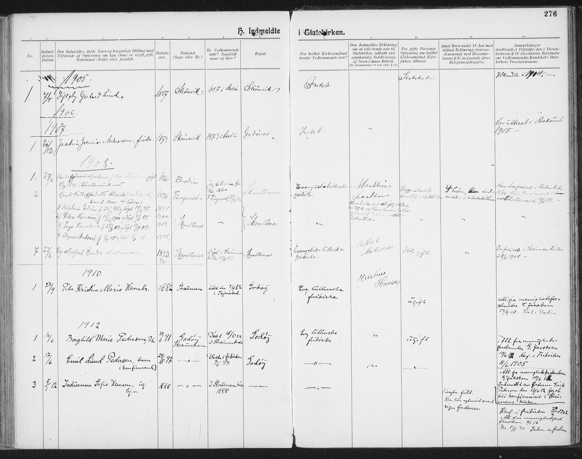 SAT, Ministerialprotokoller, klokkerbøker og fødselsregistre - Nordland, 804/L0081: Ministerialbok nr. 804A02, 1901-1915, s. 276