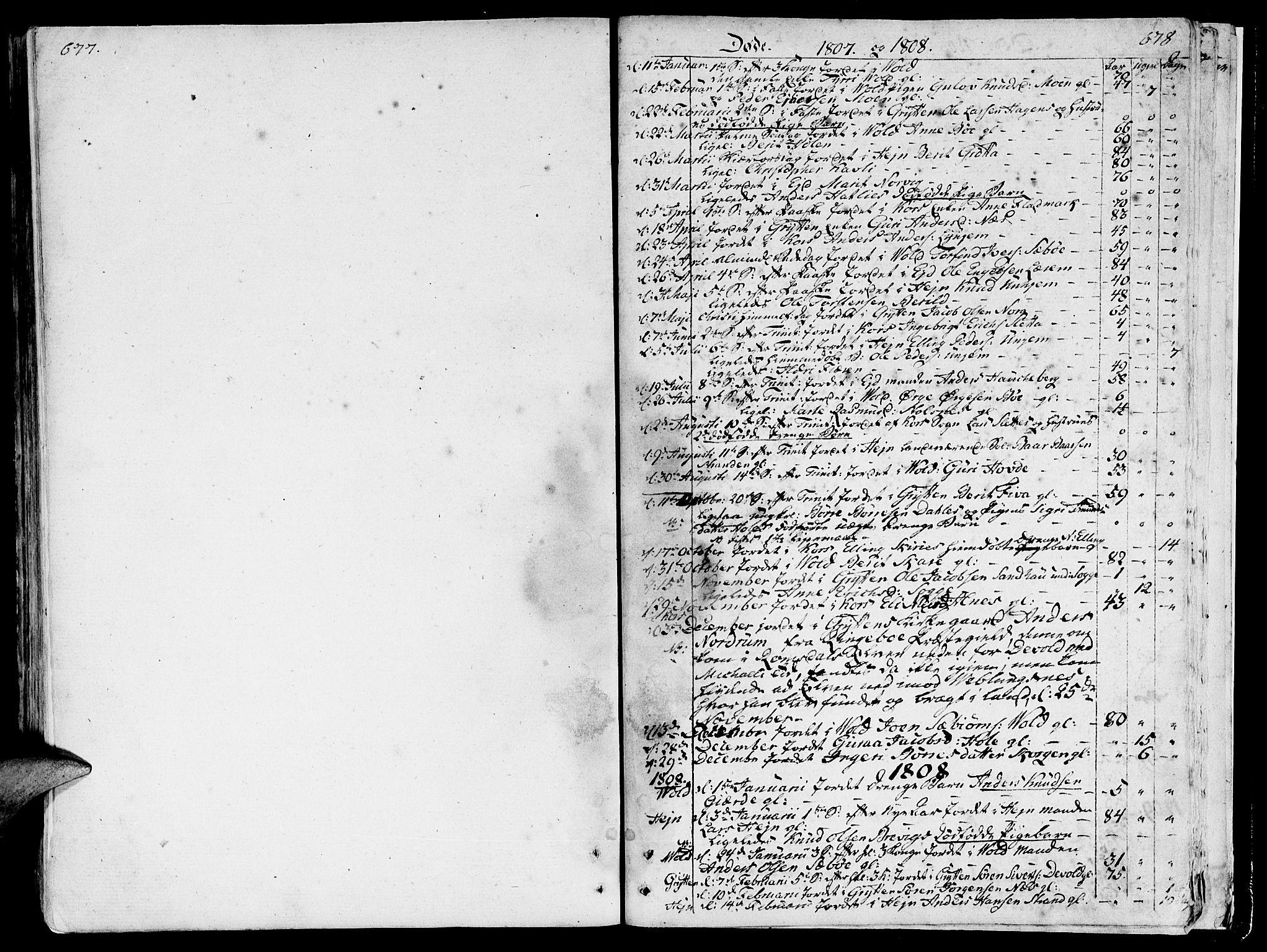 SAT, Ministerialprotokoller, klokkerbøker og fødselsregistre - Møre og Romsdal, 544/L0570: Ministerialbok nr. 544A03, 1807-1817, s. 677-678