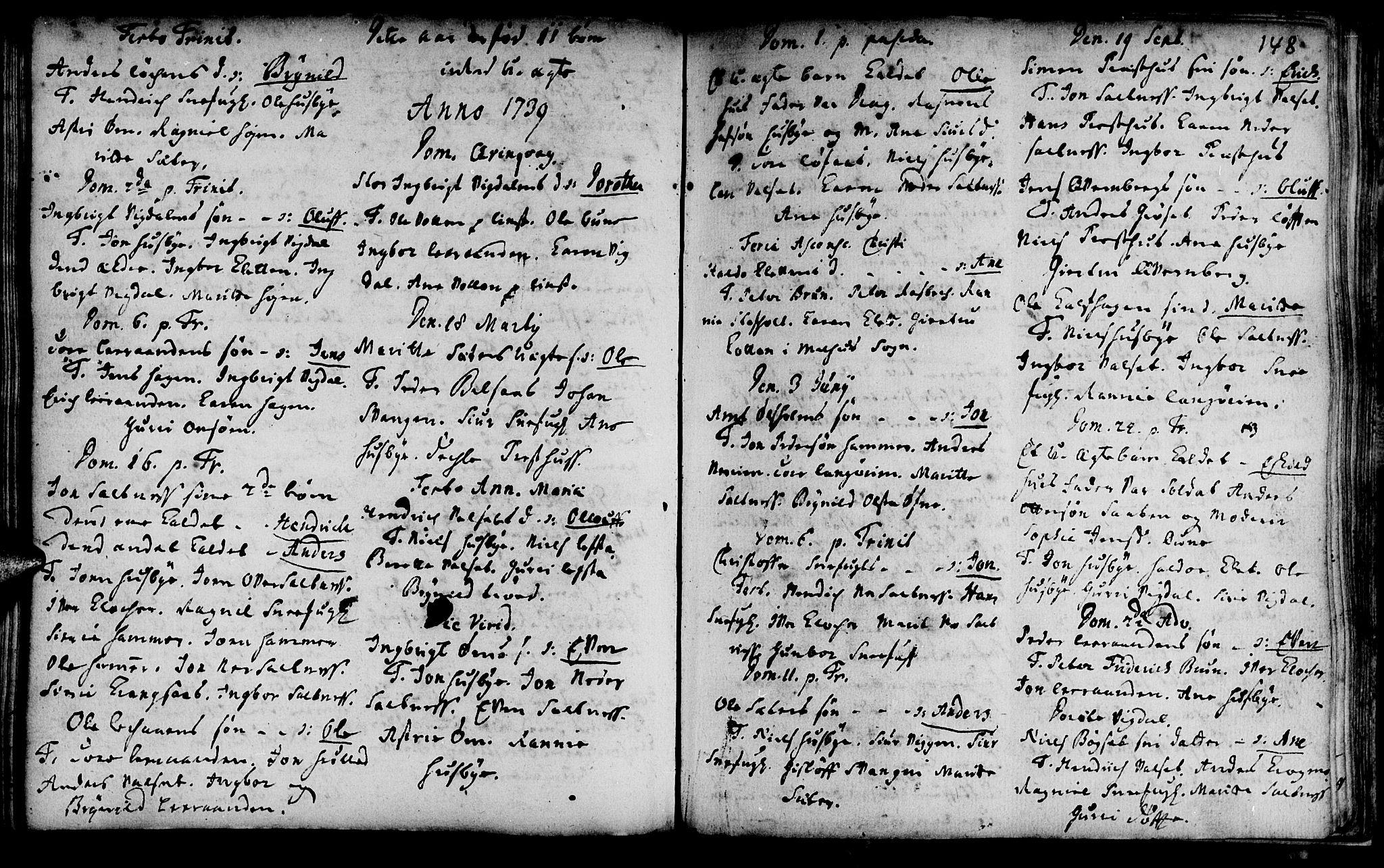 SAT, Ministerialprotokoller, klokkerbøker og fødselsregistre - Sør-Trøndelag, 666/L0783: Ministerialbok nr. 666A01, 1702-1753, s. 148