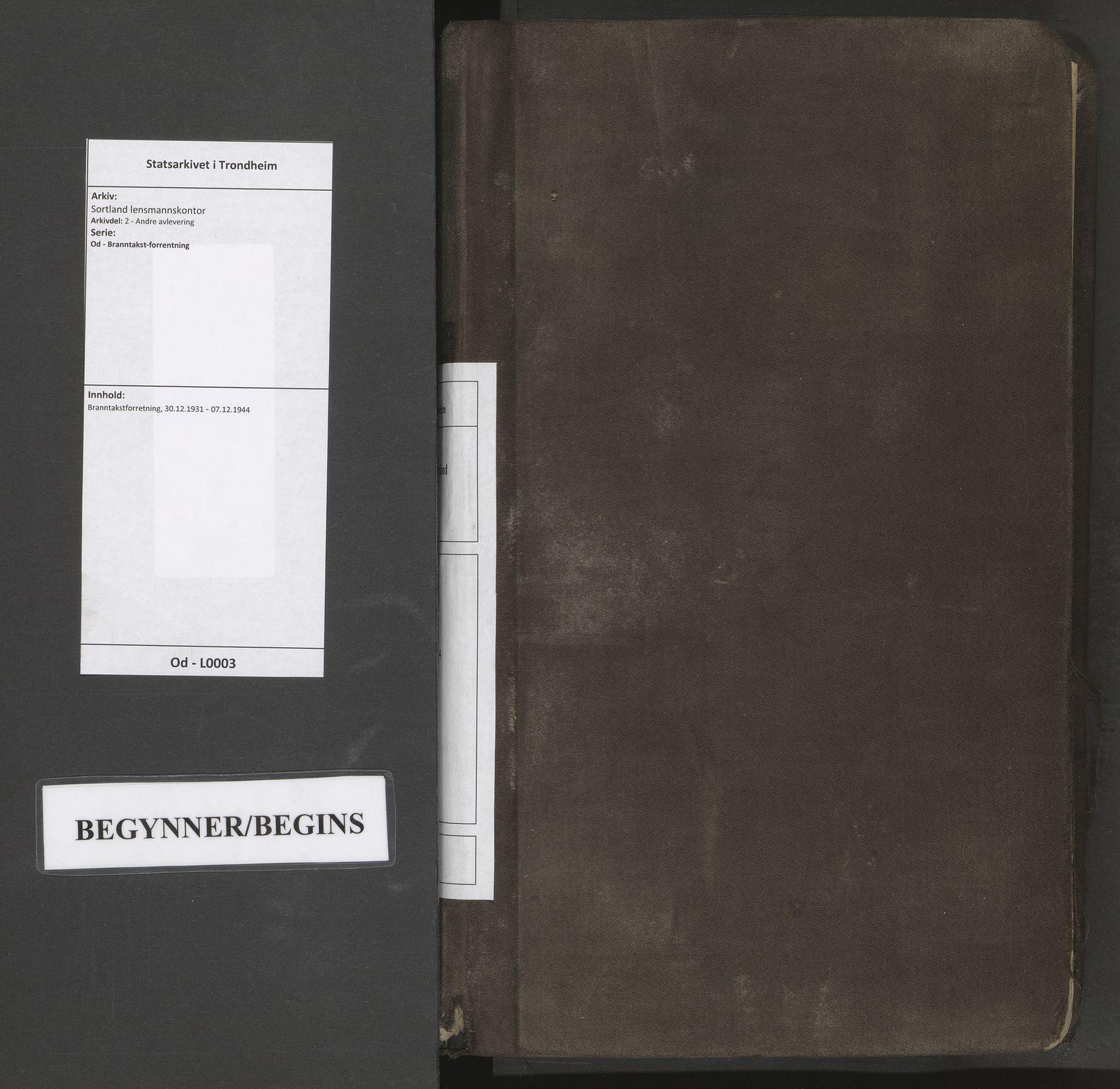 SAT, Sortland lensmannskontor, Od/L0003: Branntakstforretning, 1931-1944