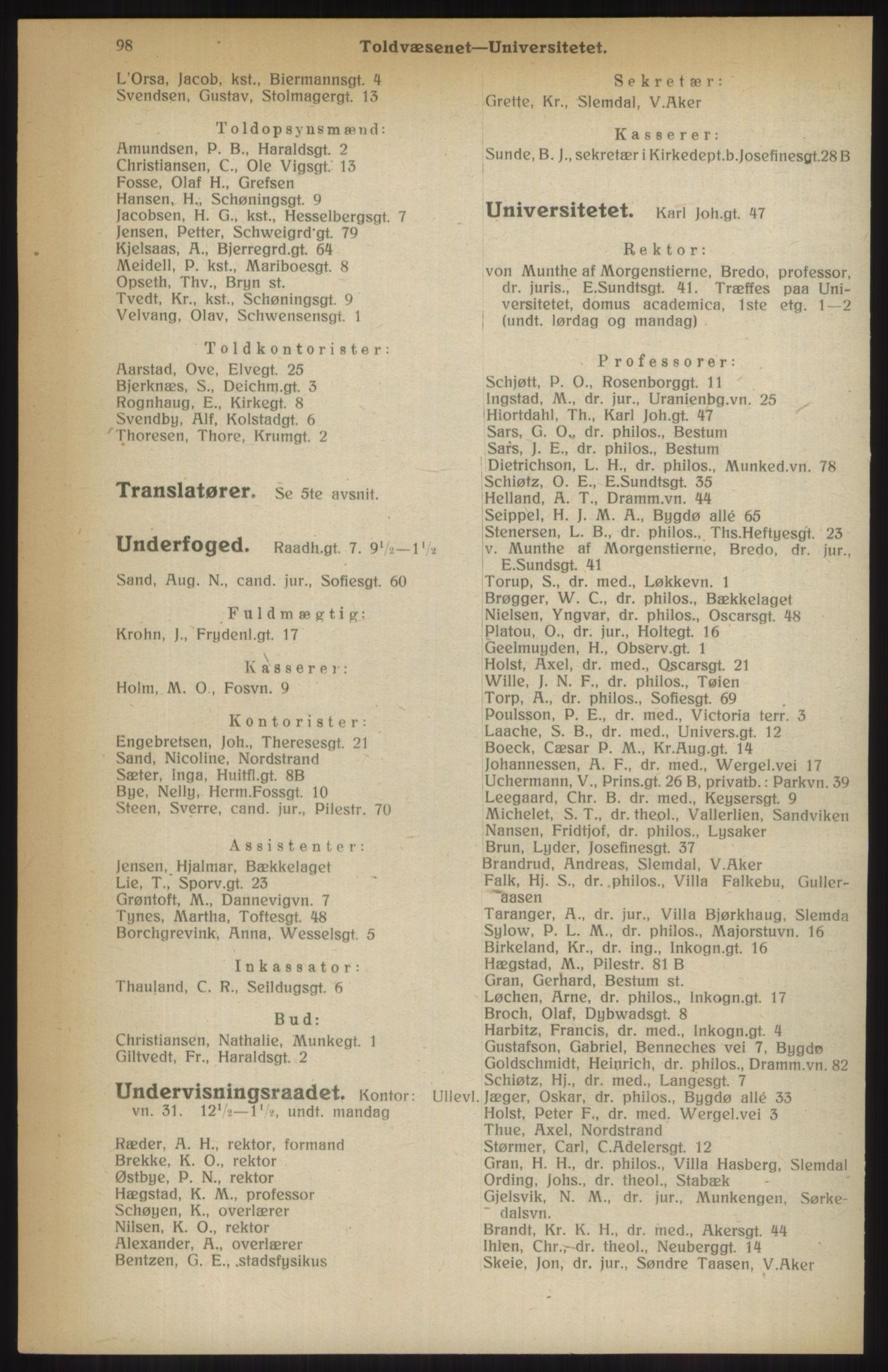 RA, Kristiania adressebok (publikasjon)*, 1914, s. 98