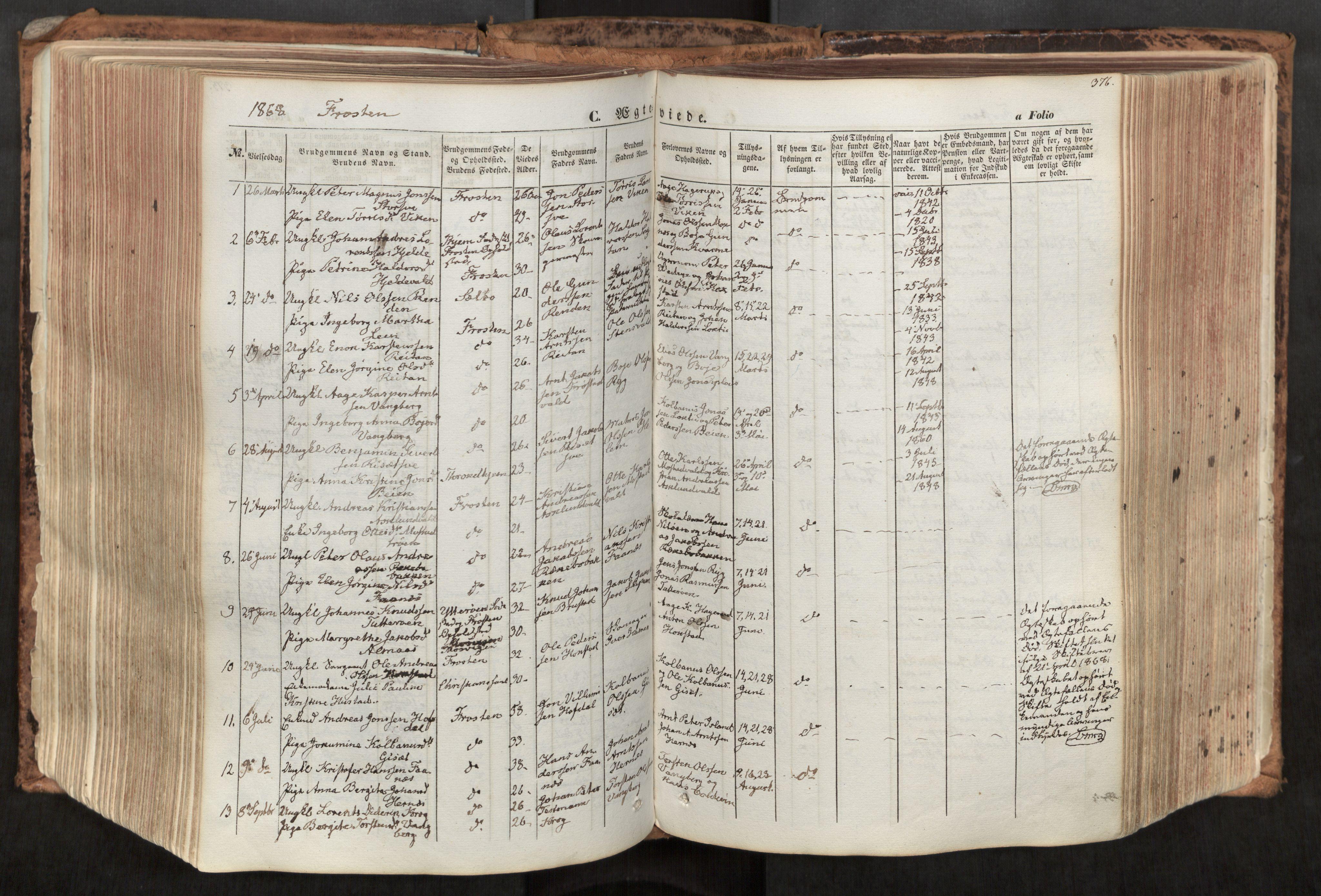 SAT, Ministerialprotokoller, klokkerbøker og fødselsregistre - Nord-Trøndelag, 713/L0116: Ministerialbok nr. 713A07, 1850-1877, s. 376