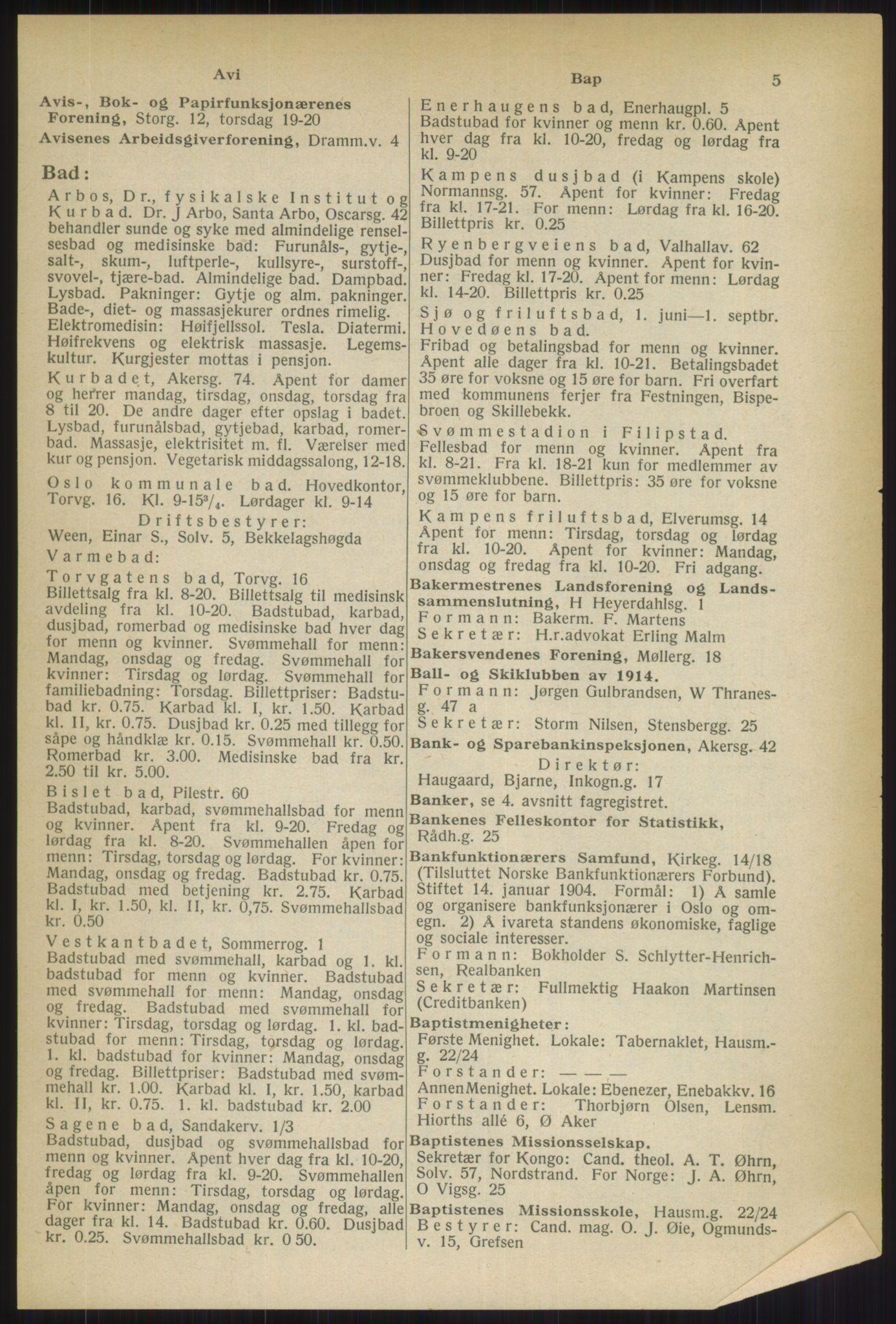 RA, Oslo adressebok (publikasjon)*, 1937, s. 5