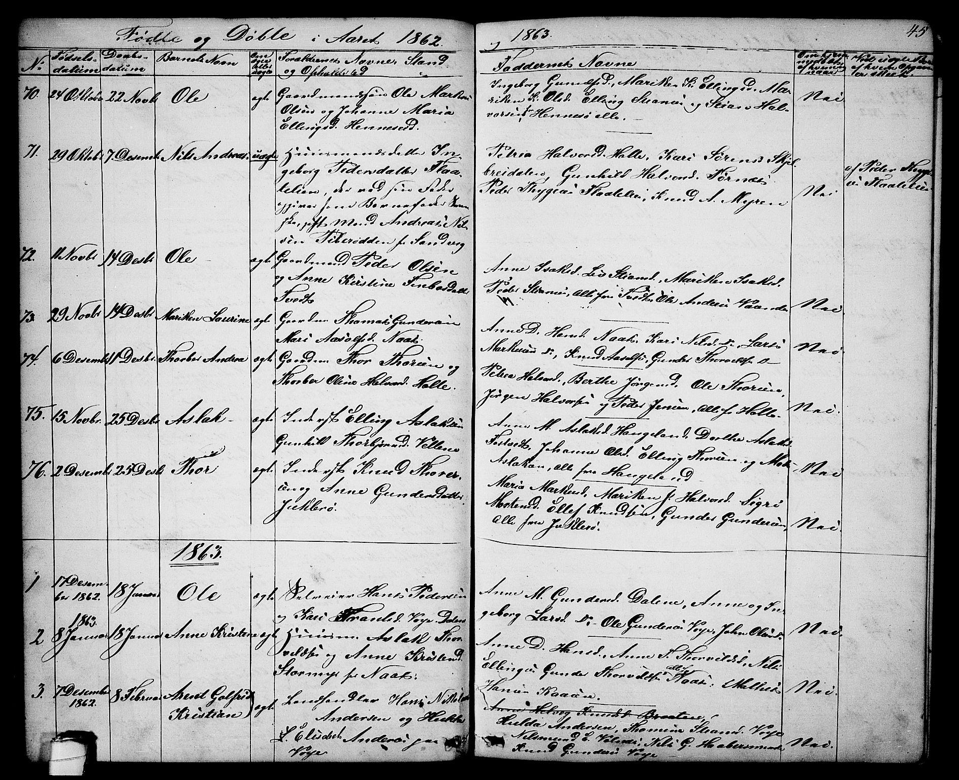 SAKO, Drangedal kirkebøker, G/Ga/L0002: Klokkerbok nr. I 2, 1856-1887, s. 45