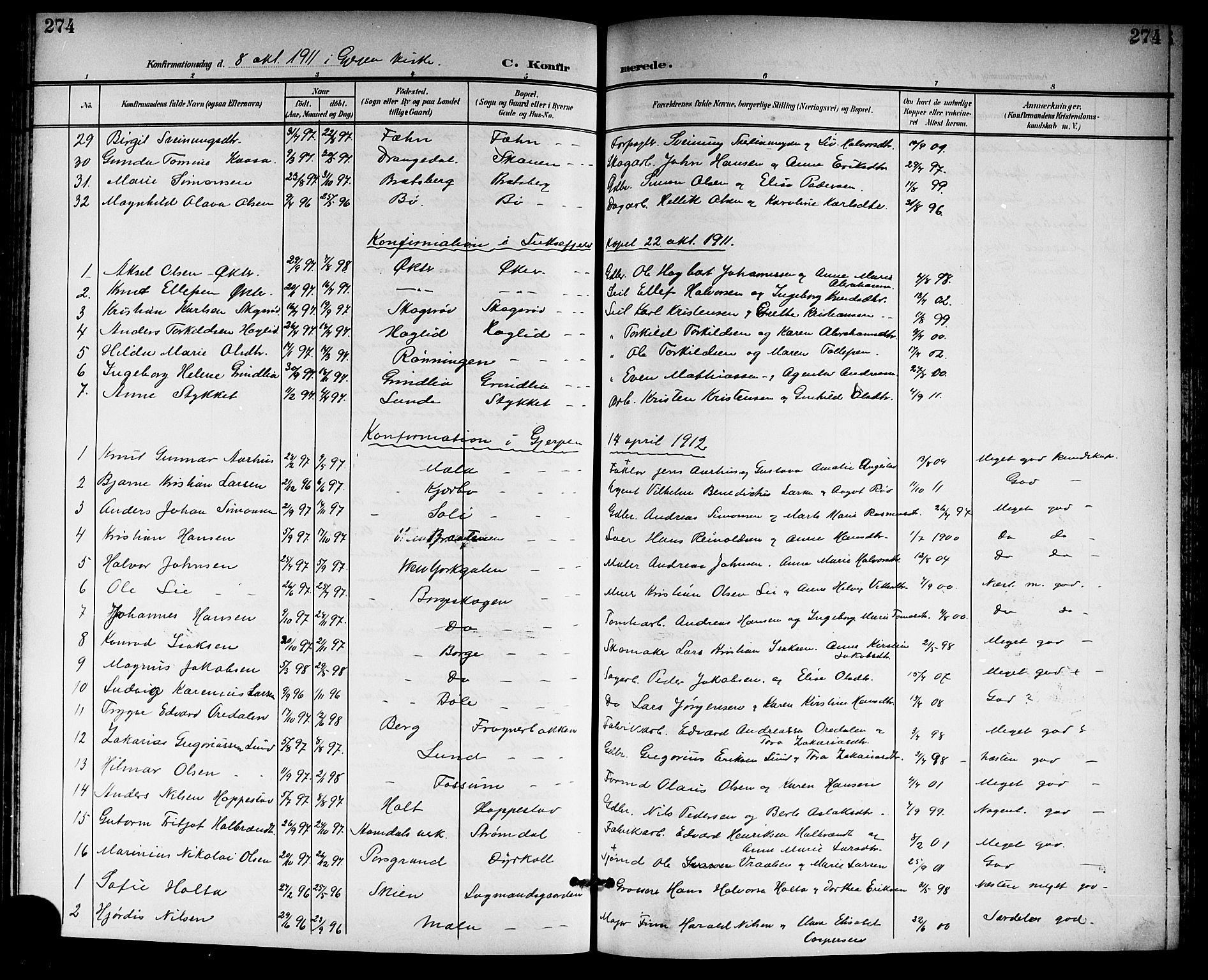 SAKO, Gjerpen kirkebøker, G/Ga/L0003: Klokkerbok nr. I 3, 1901-1919, s. 274