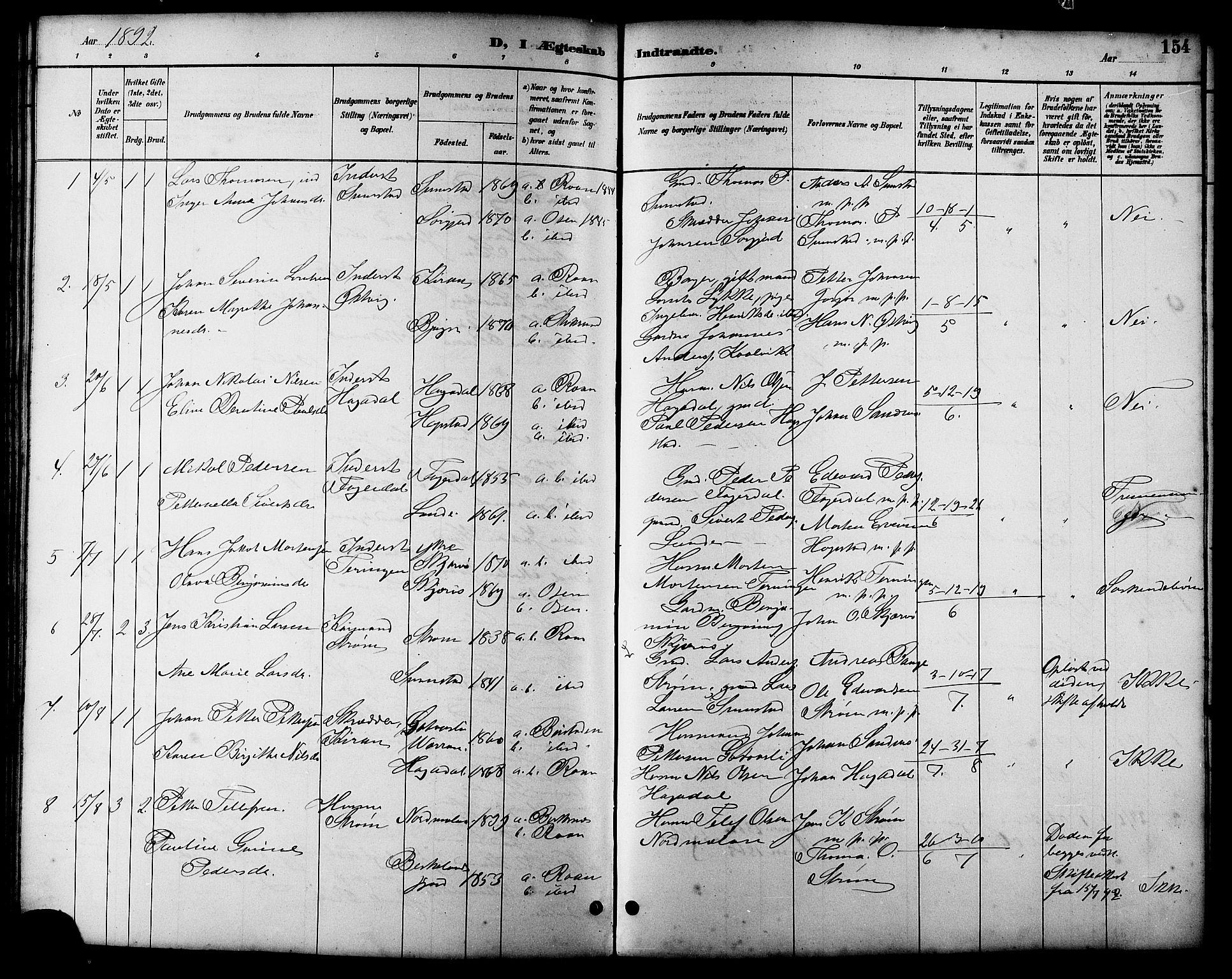 SAT, Ministerialprotokoller, klokkerbøker og fødselsregistre - Sør-Trøndelag, 657/L0716: Klokkerbok nr. 657C03, 1889-1904, s. 154