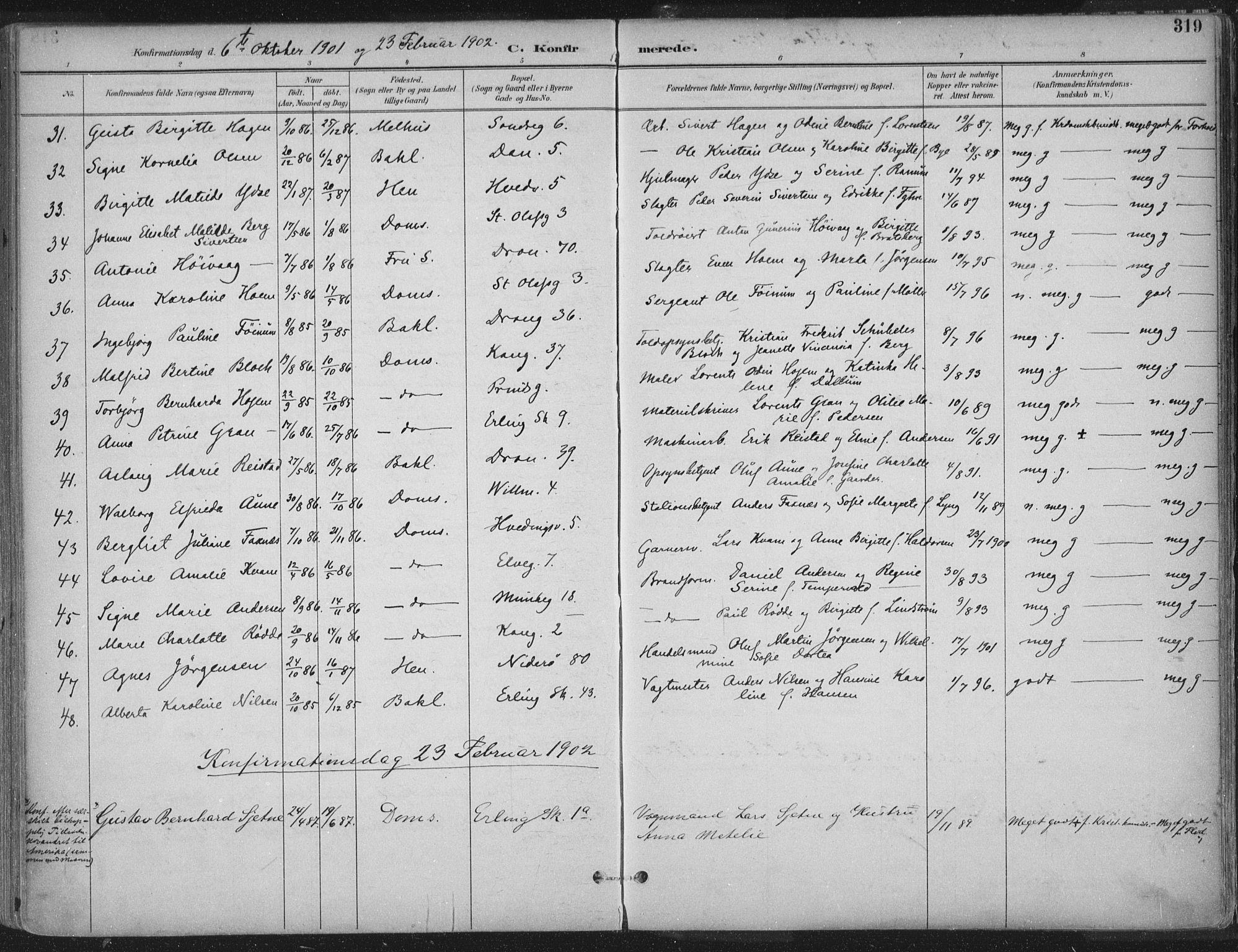 SAT, Ministerialprotokoller, klokkerbøker og fødselsregistre - Sør-Trøndelag, 601/L0062: Ministerialbok nr. 601A30, 1891-1911, s. 319