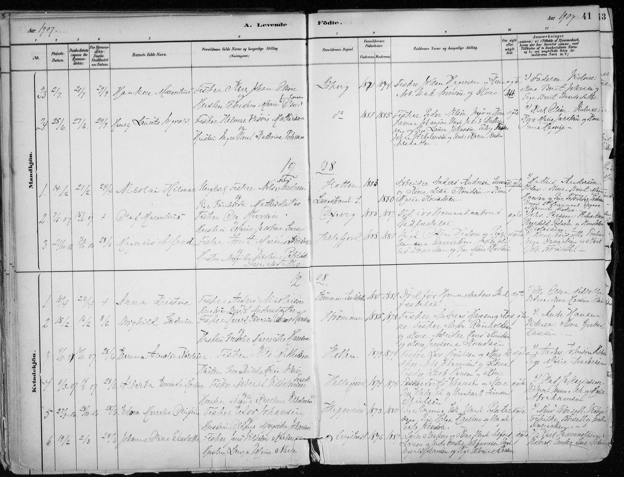 SATØ, Hammerfest sokneprestkontor, H/Ha/L0013.kirke: Ministerialbok nr. 13, 1898-1917, s. 41