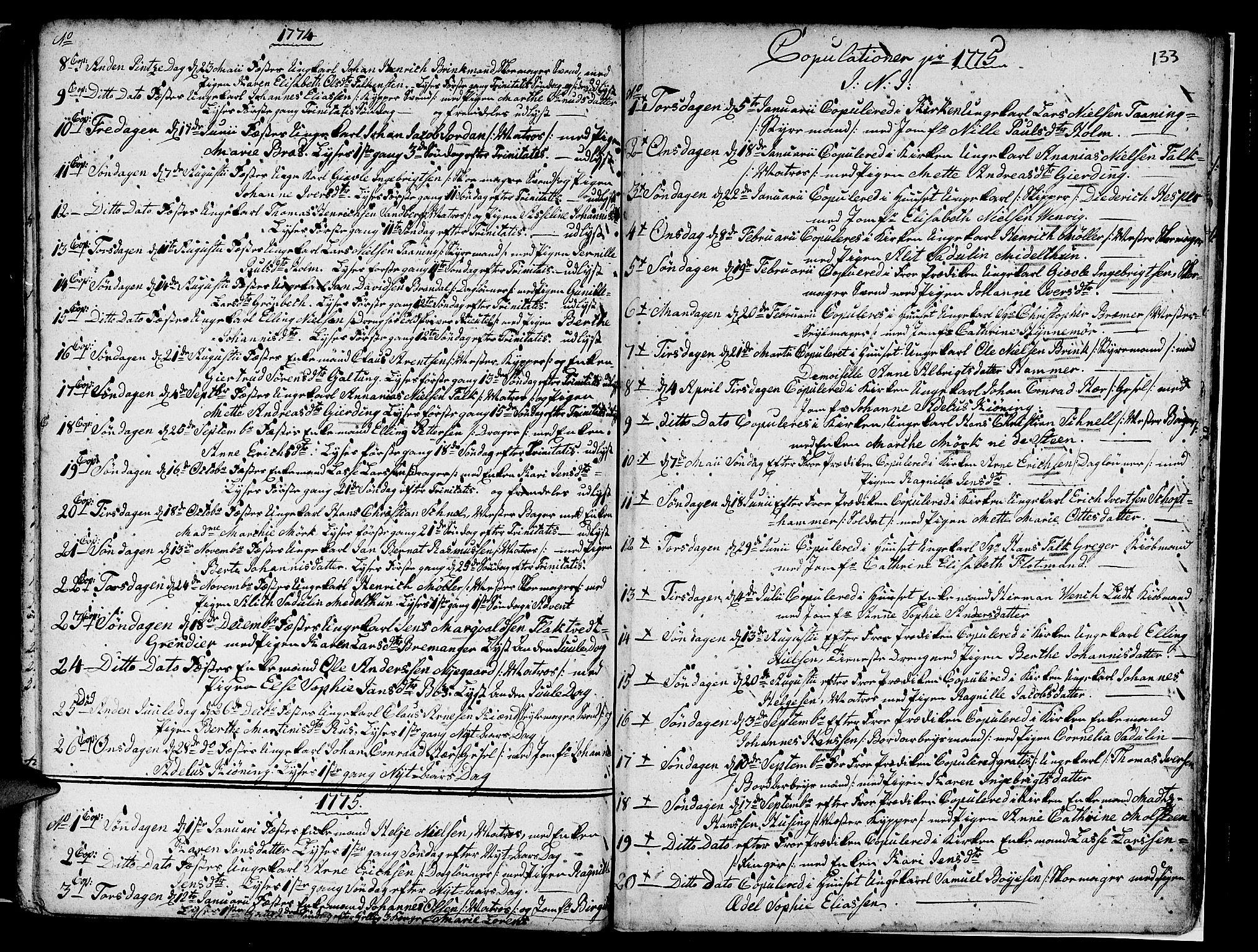SAB, Nykirken Sokneprestembete, H/Haa: Ministerialbok nr. A 7, 1719-1781, s. 133