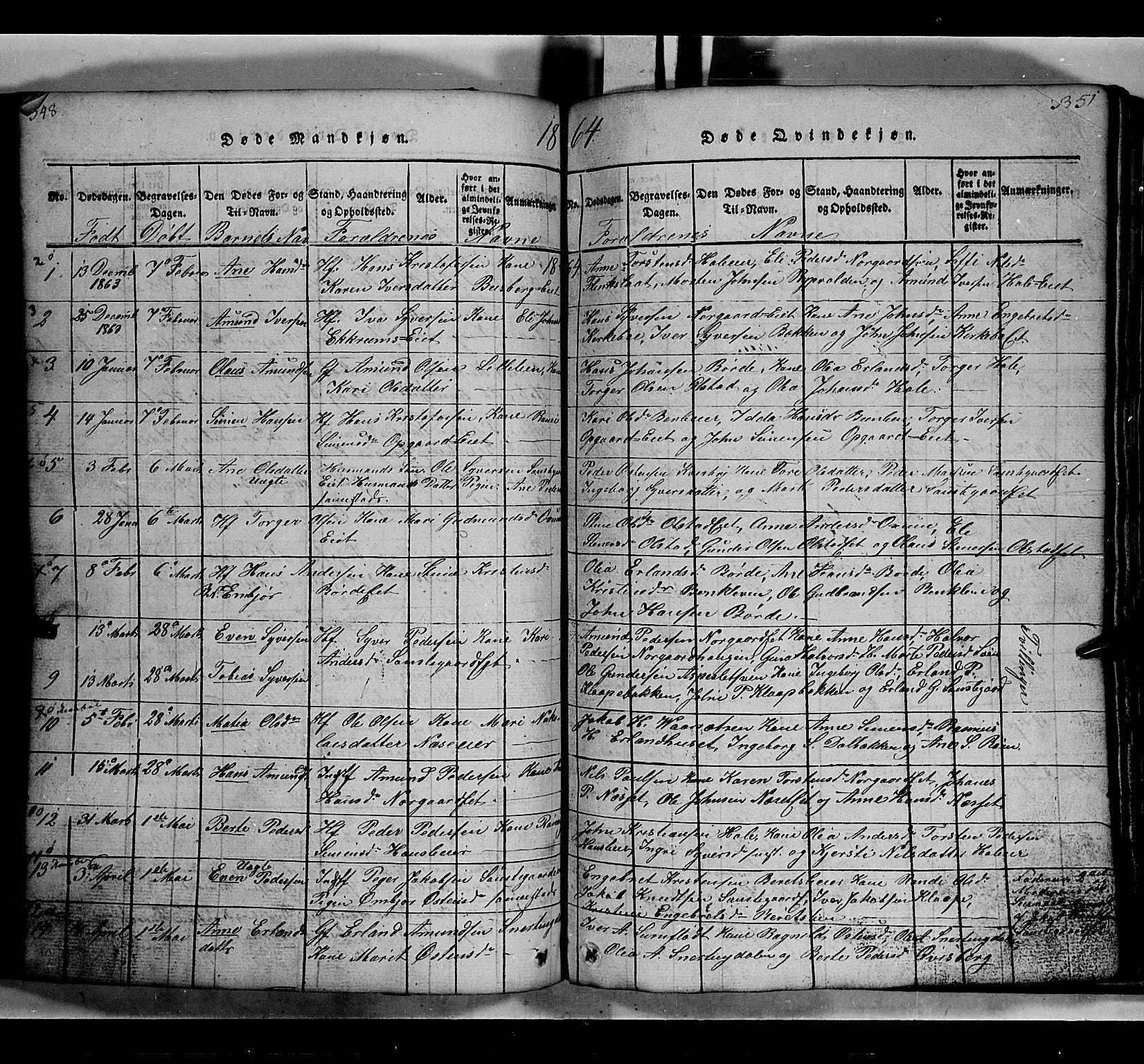SAH, Gausdal prestekontor, Klokkerbok nr. 2, 1818-1874, s. 348-349