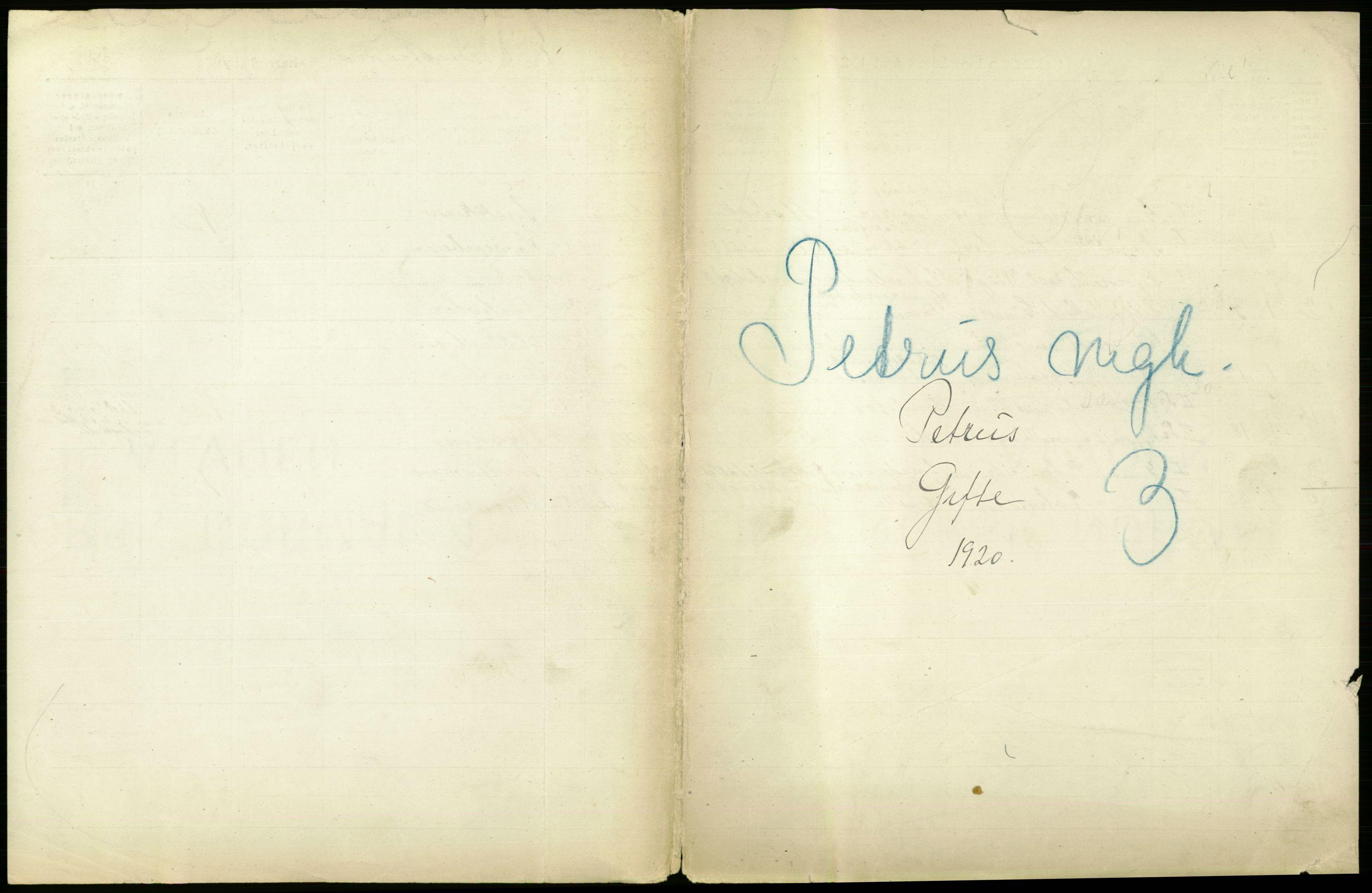 RA, Statistisk sentralbyrå, Sosiodemografiske emner, Befolkning, D/Df/Dfb/Dfbj/L0011: Kristiania: Gifte, 1920