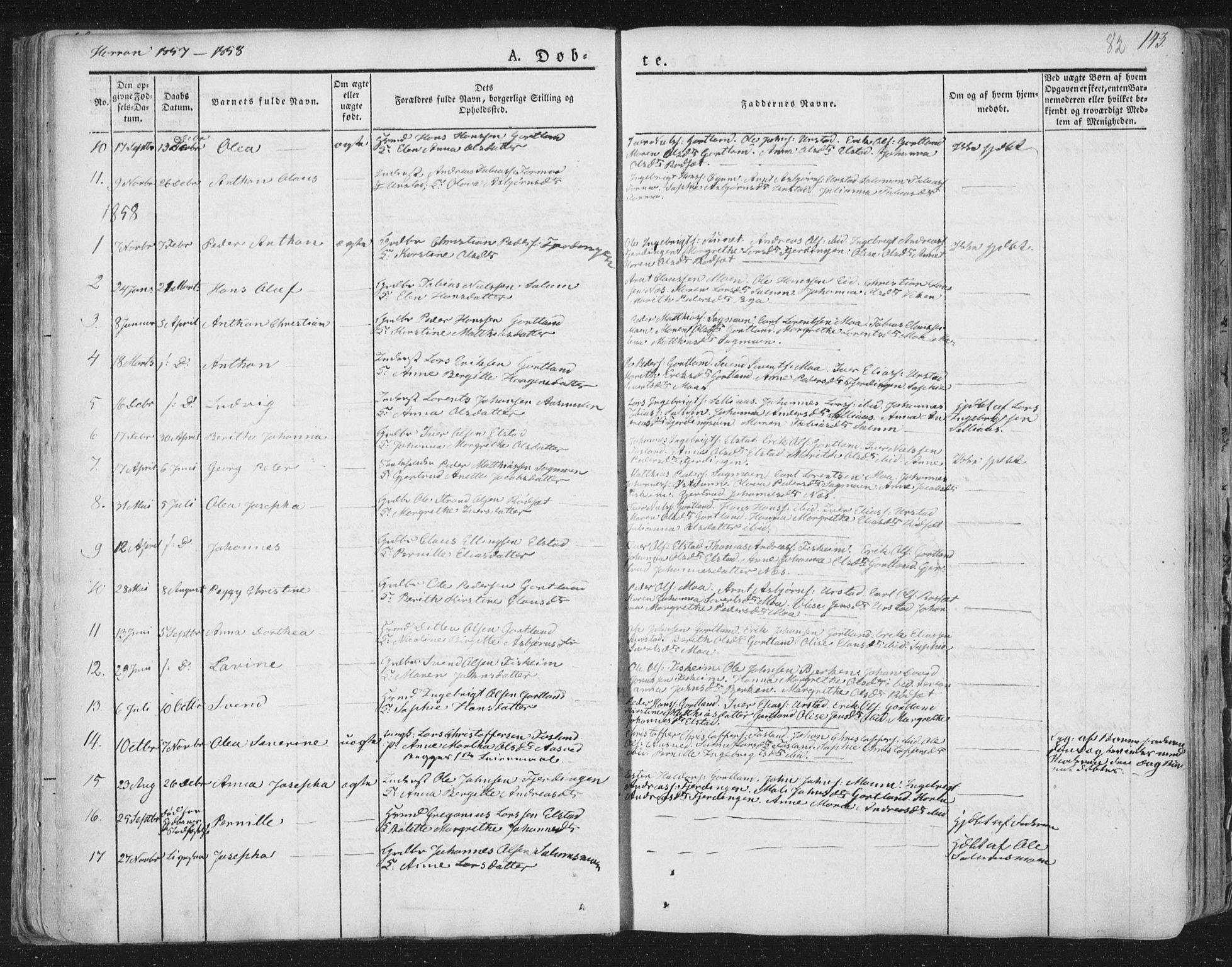 SAT, Ministerialprotokoller, klokkerbøker og fødselsregistre - Nord-Trøndelag, 758/L0513: Ministerialbok nr. 758A02 /3, 1839-1868, s. 82