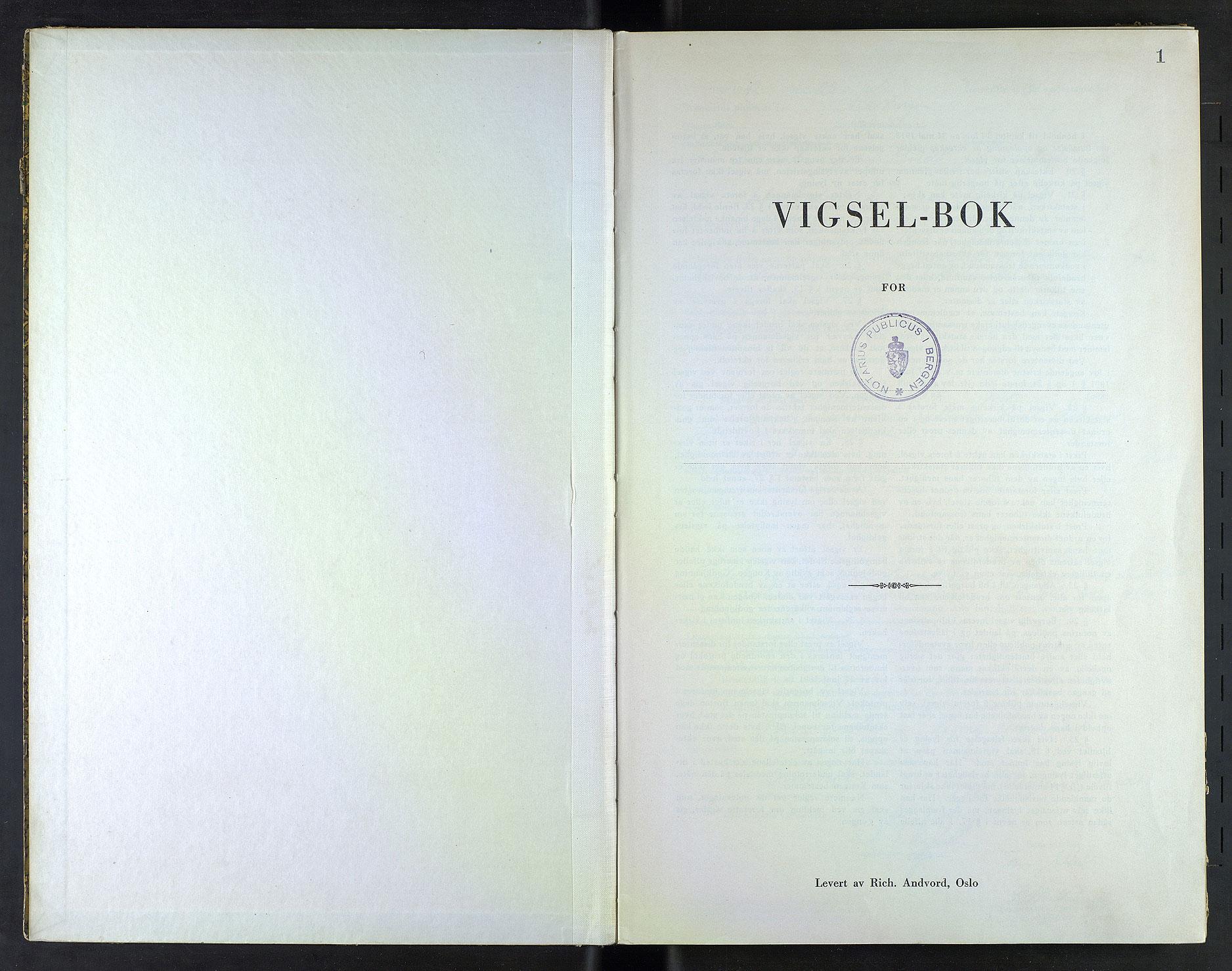 SAB, Byfogd og Byskriver i Bergen, 10/10F/L0022: Vielsesprotokoller, 1942, s. 1