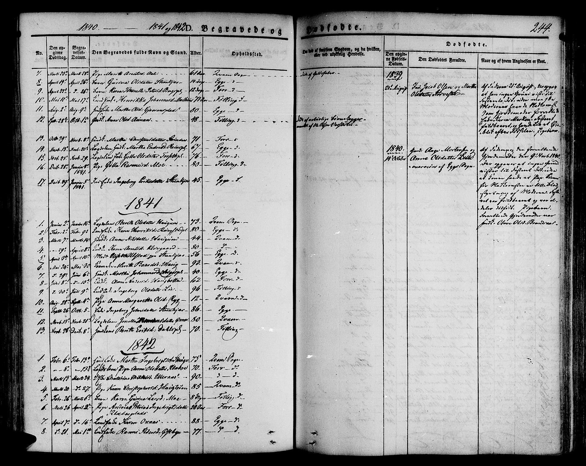 SAT, Ministerialprotokoller, klokkerbøker og fødselsregistre - Nord-Trøndelag, 746/L0445: Ministerialbok nr. 746A04, 1826-1846, s. 244
