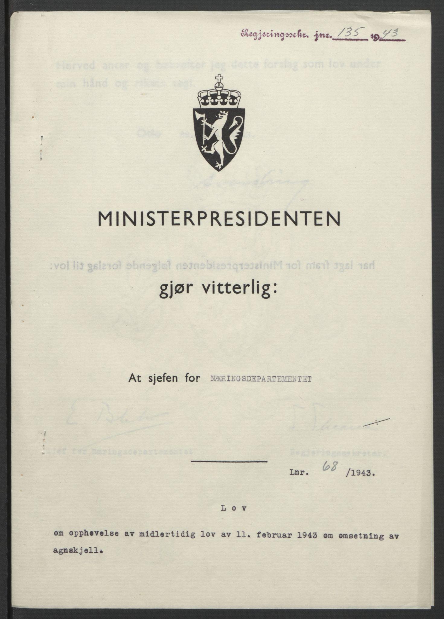 RA, NS-administrasjonen 1940-1945 (Statsrådsekretariatet, de kommisariske statsråder mm), D/Db/L0099: Lover, 1943, s. 312