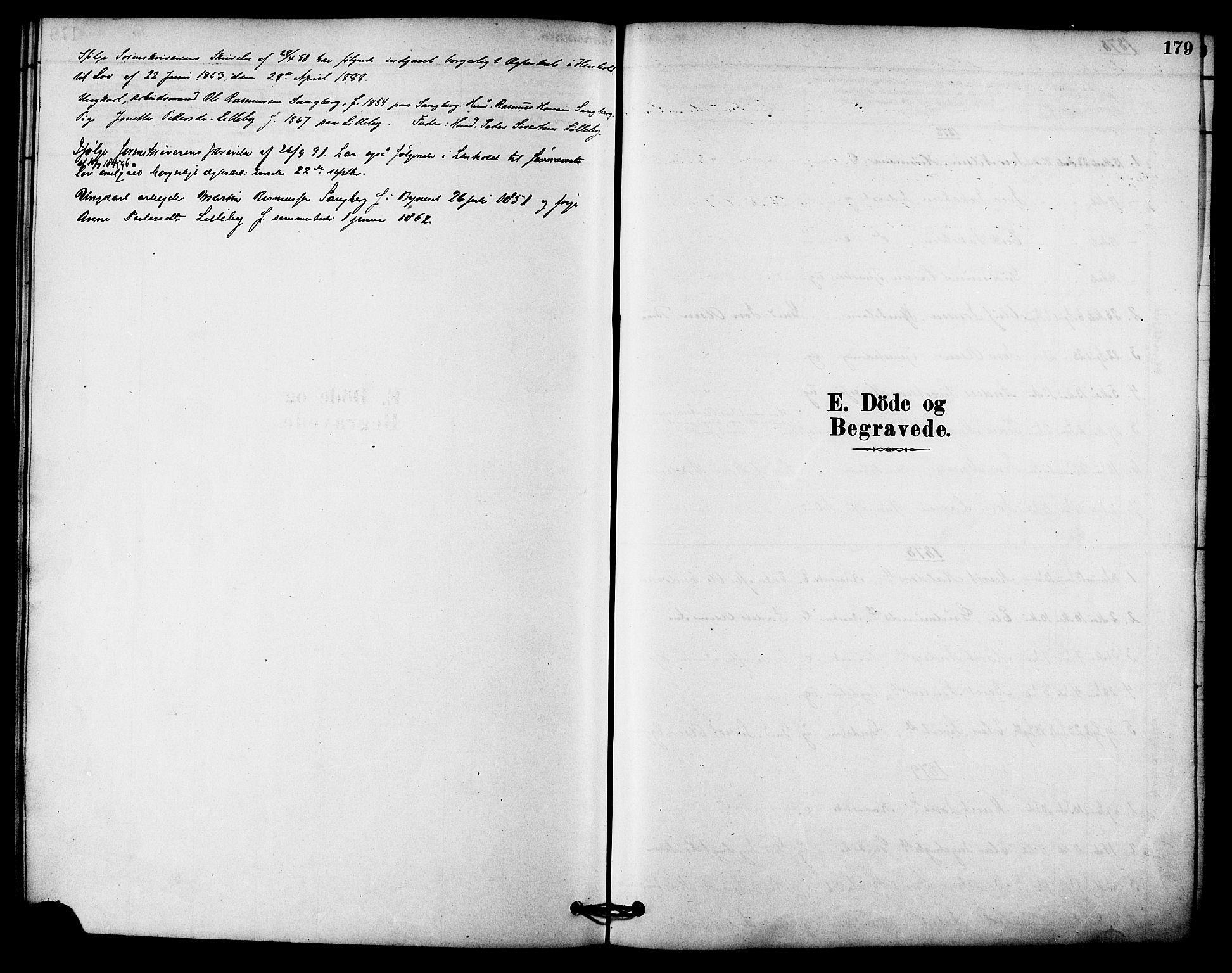 SAT, Ministerialprotokoller, klokkerbøker og fødselsregistre - Sør-Trøndelag, 612/L0378: Ministerialbok nr. 612A10, 1878-1897, s. 179