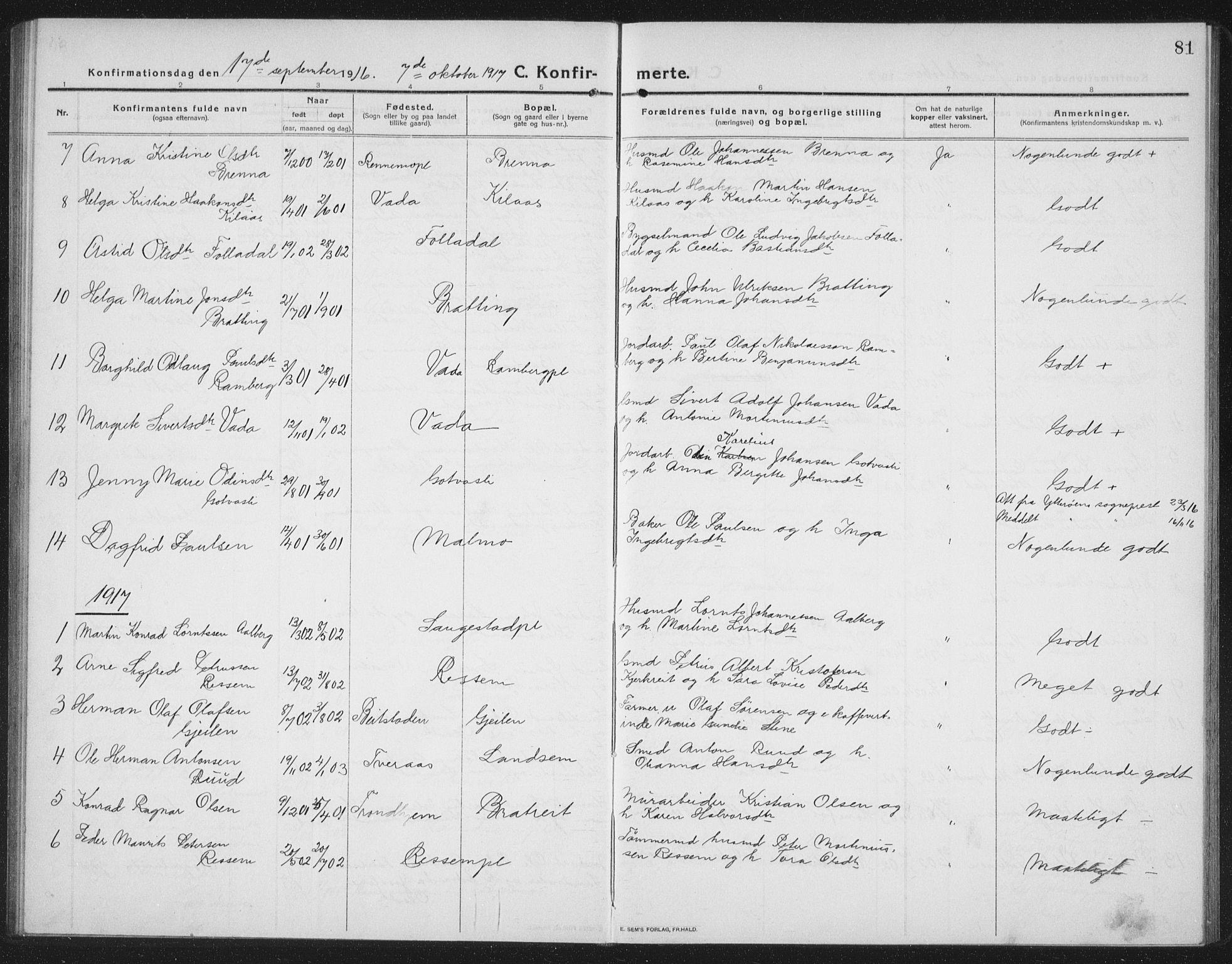 SAT, Ministerialprotokoller, klokkerbøker og fødselsregistre - Nord-Trøndelag, 745/L0434: Klokkerbok nr. 745C03, 1914-1937, s. 81
