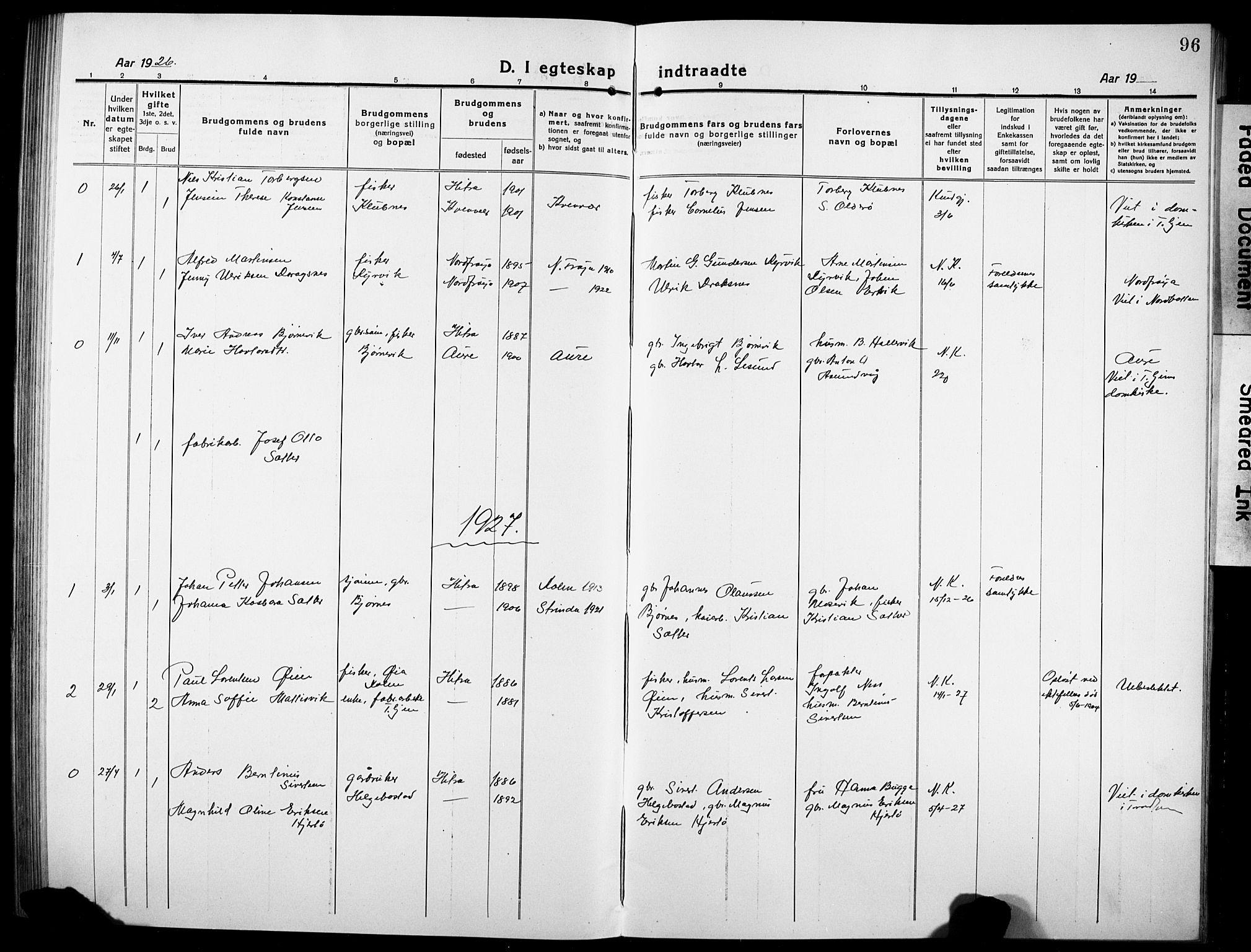 SAT, Ministerialprotokoller, klokkerbøker og fødselsregistre - Sør-Trøndelag, 634/L0543: Klokkerbok nr. 634C05, 1917-1928, s. 96