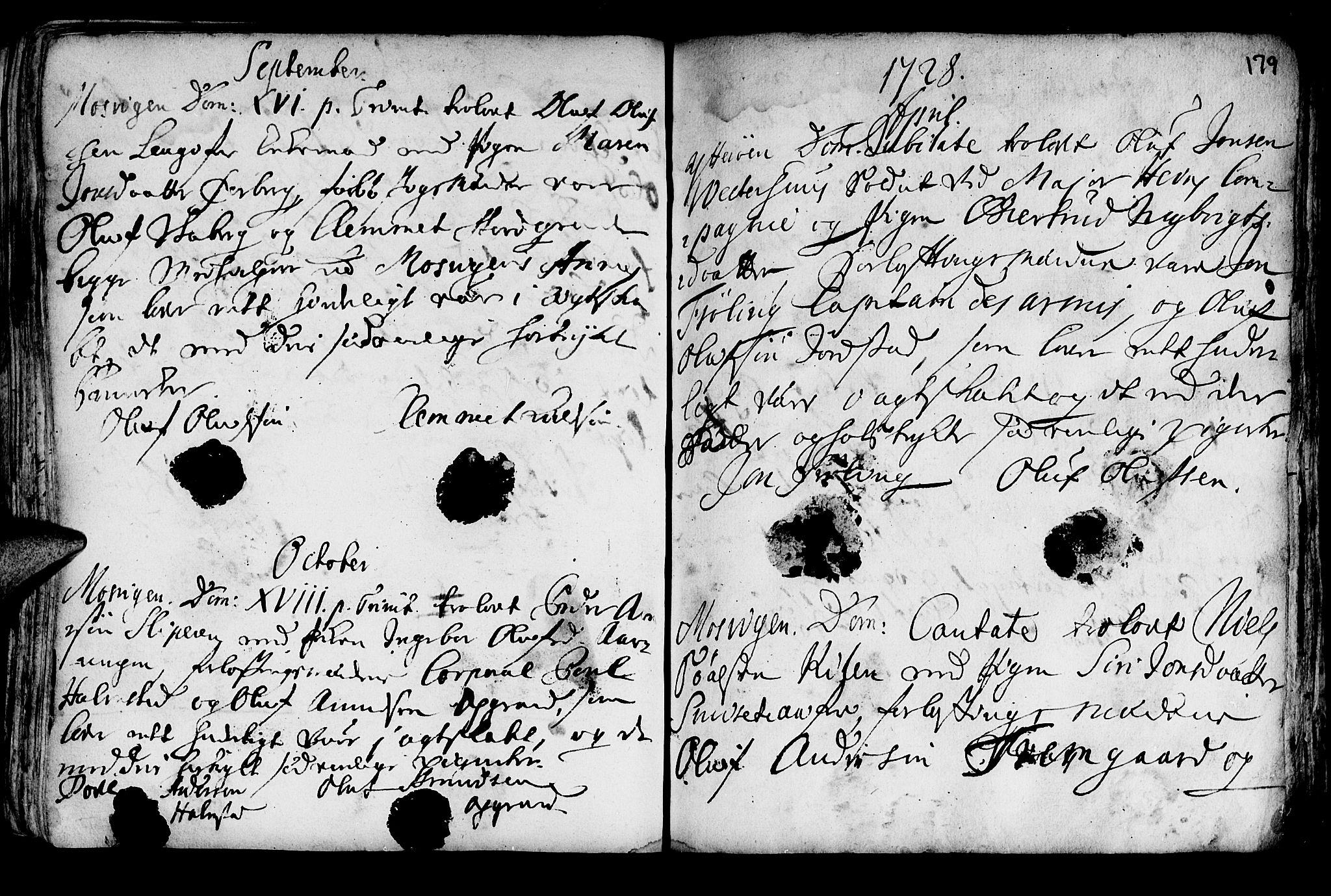 SAT, Ministerialprotokoller, klokkerbøker og fødselsregistre - Nord-Trøndelag, 722/L0215: Ministerialbok nr. 722A02, 1718-1755, s. 179