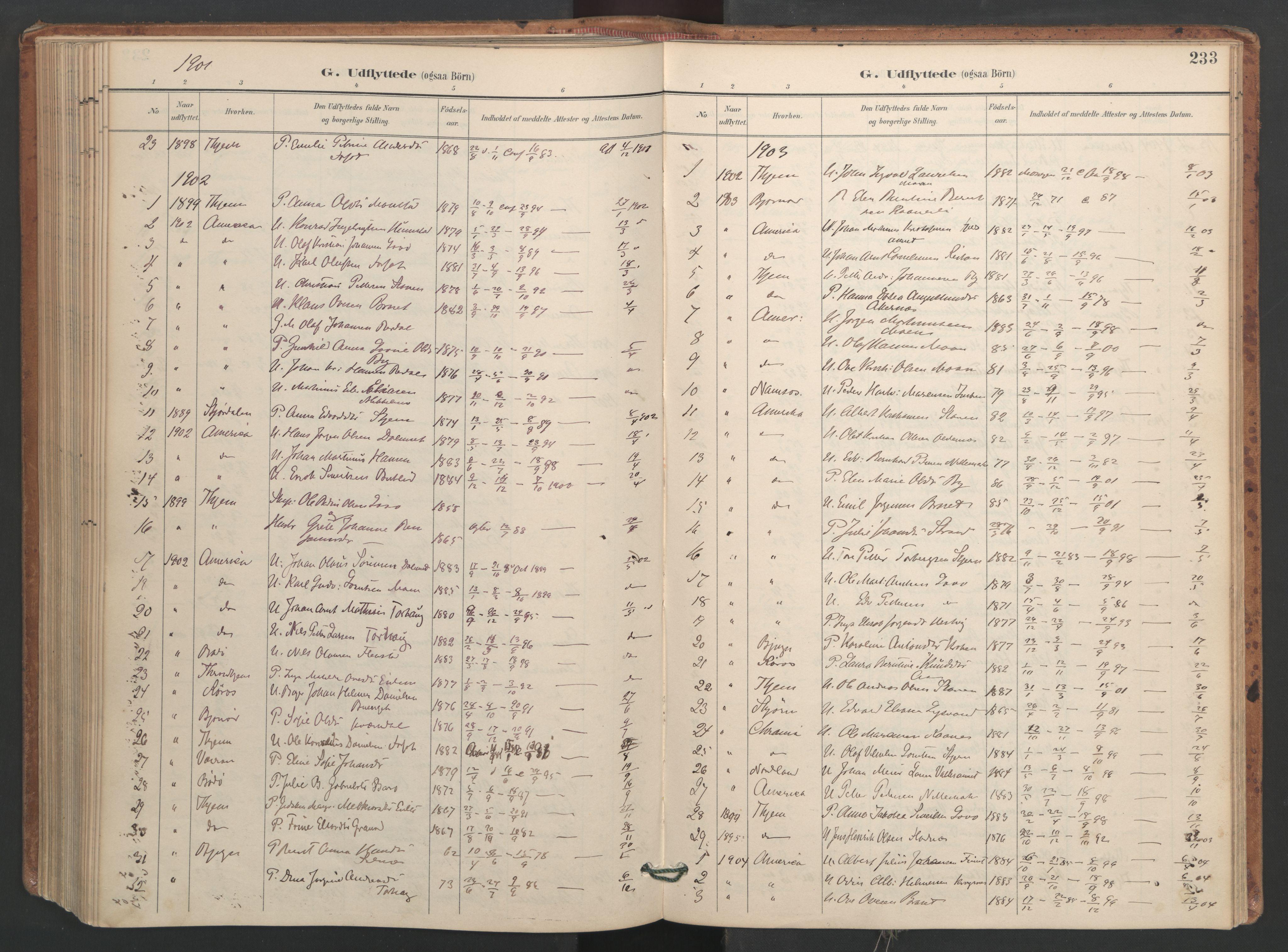 SAT, Ministerialprotokoller, klokkerbøker og fødselsregistre - Sør-Trøndelag, 655/L0681: Ministerialbok nr. 655A10, 1895-1907, s. 233
