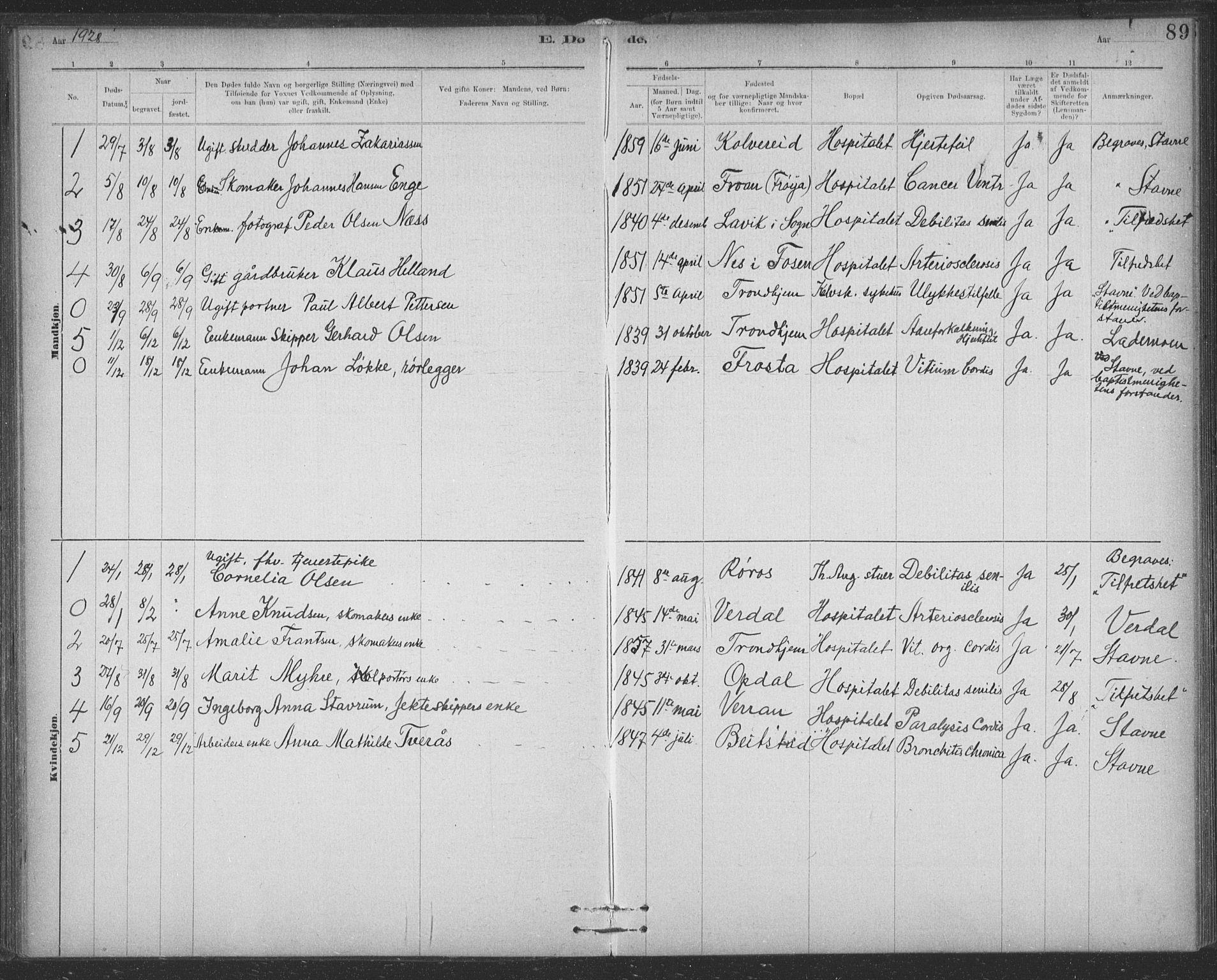 SAT, Ministerialprotokoller, klokkerbøker og fødselsregistre - Sør-Trøndelag, 623/L0470: Ministerialbok nr. 623A04, 1884-1938, s. 89