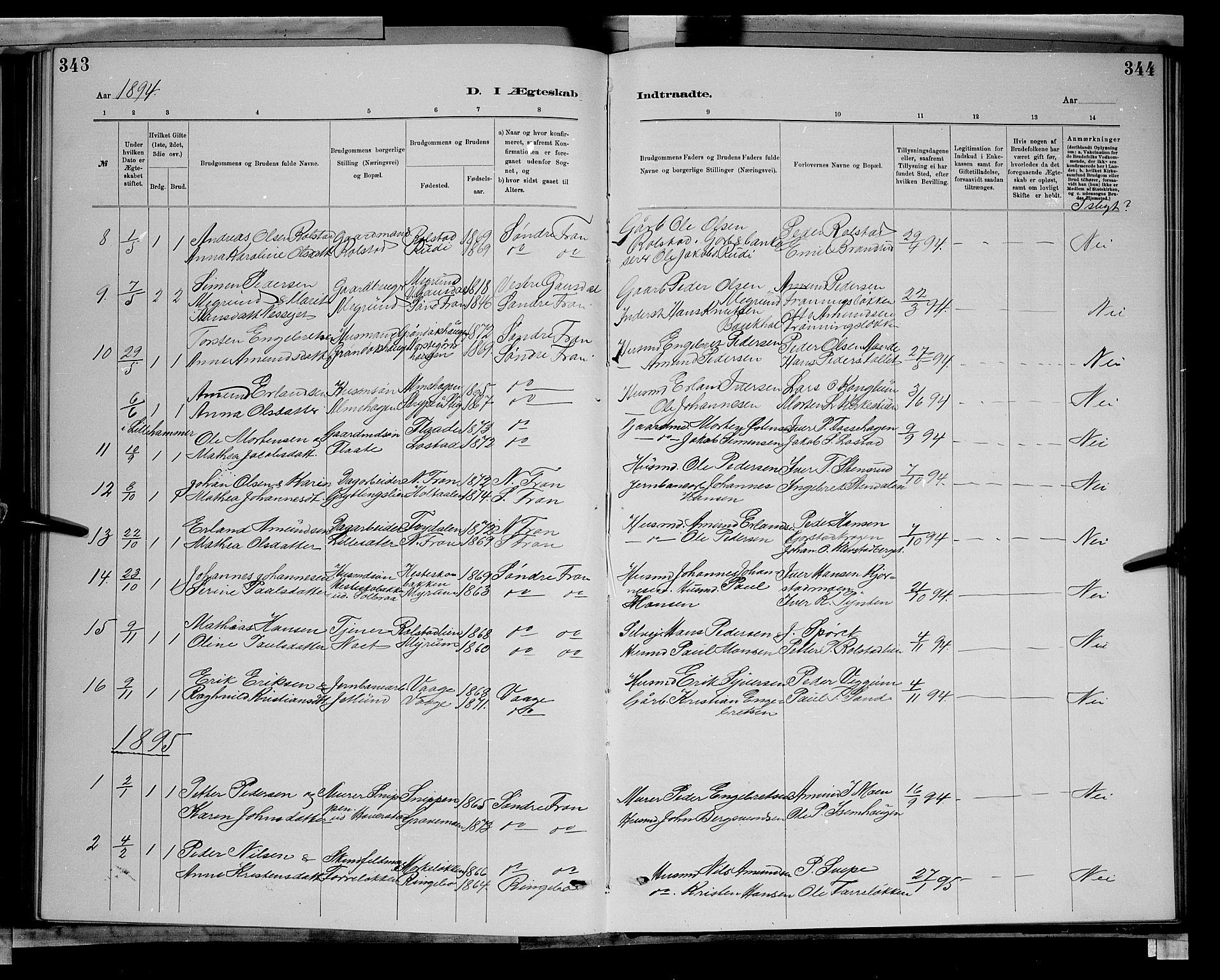 SAH, Sør-Fron prestekontor, H/Ha/Hab/L0003: Klokkerbok nr. 3, 1884-1896, s. 343-344