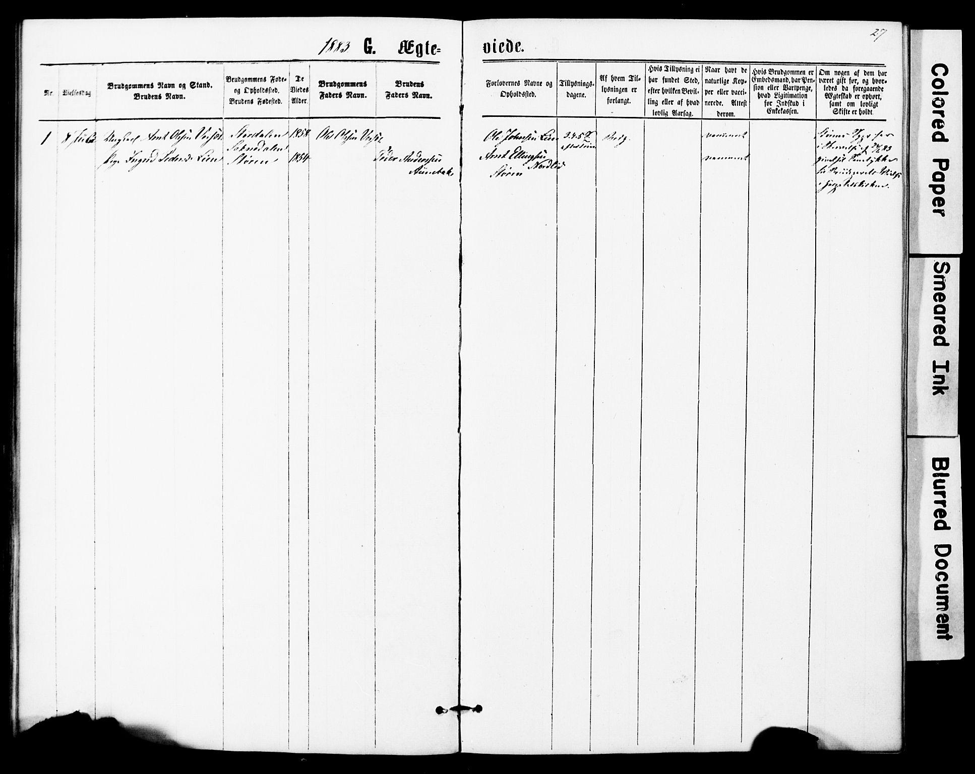 SAT, Ministerialprotokoller, klokkerbøker og fødselsregistre - Sør-Trøndelag, 623/L0469: Ministerialbok nr. 623A03, 1868-1883, s. 27