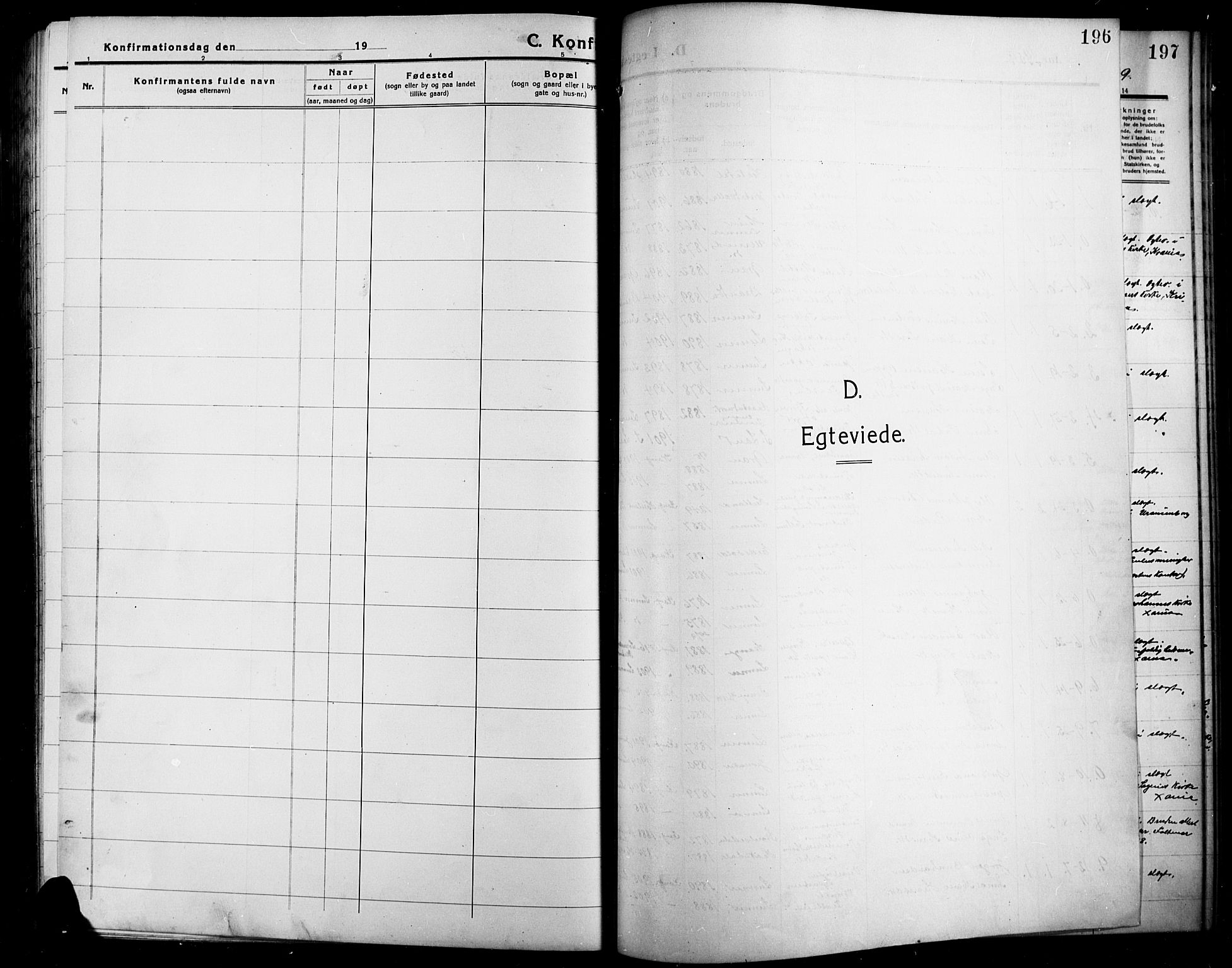 SAH, Lunner prestekontor, H/Ha/Hab/L0001: Klokkerbok nr. 1, 1909-1922, s. 196